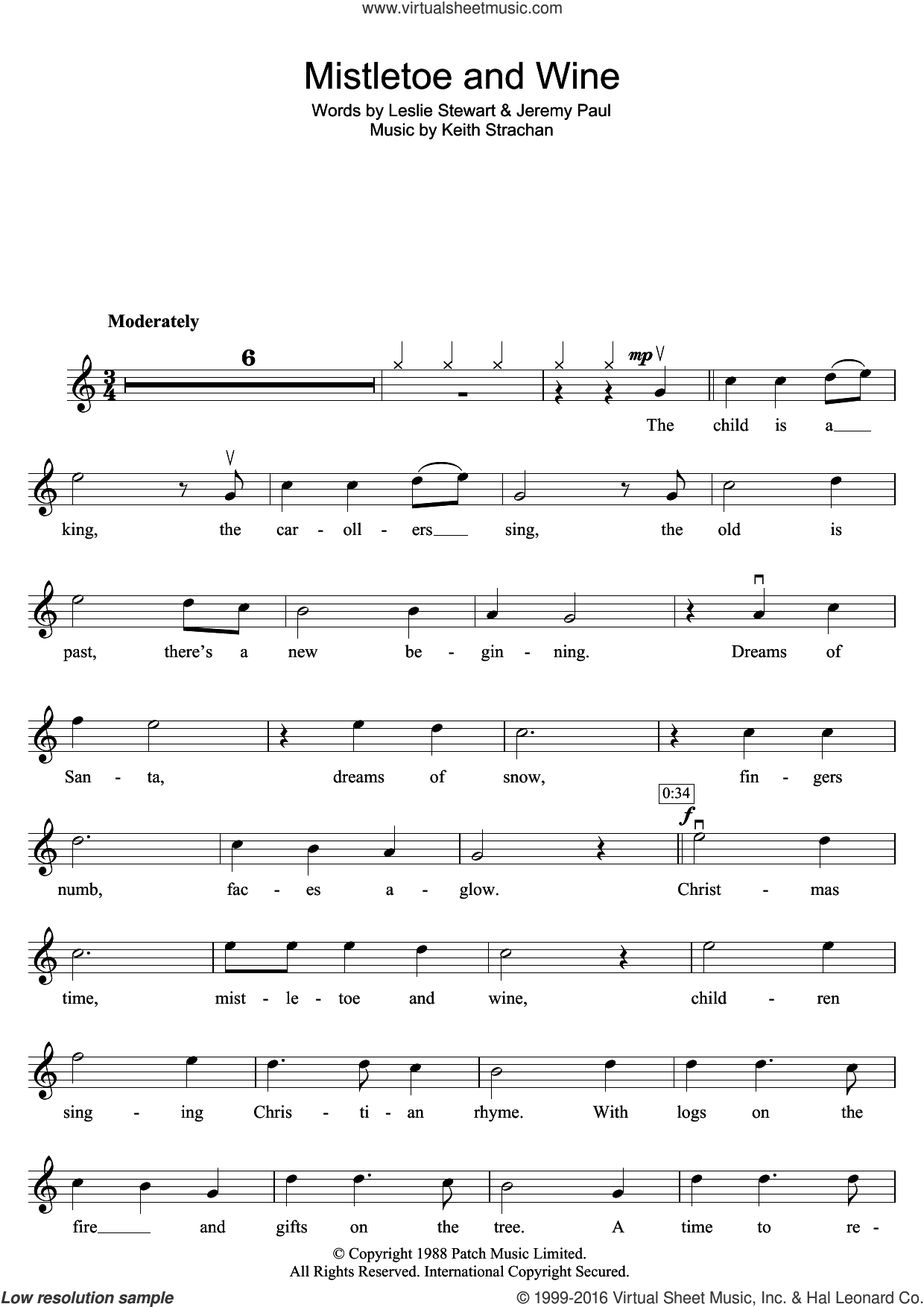 Mistletoe And Wine sheet music for violin solo by Cliff Richard, Jeremy Paul, Keith Strachan and Leslie Stewart, intermediate skill level