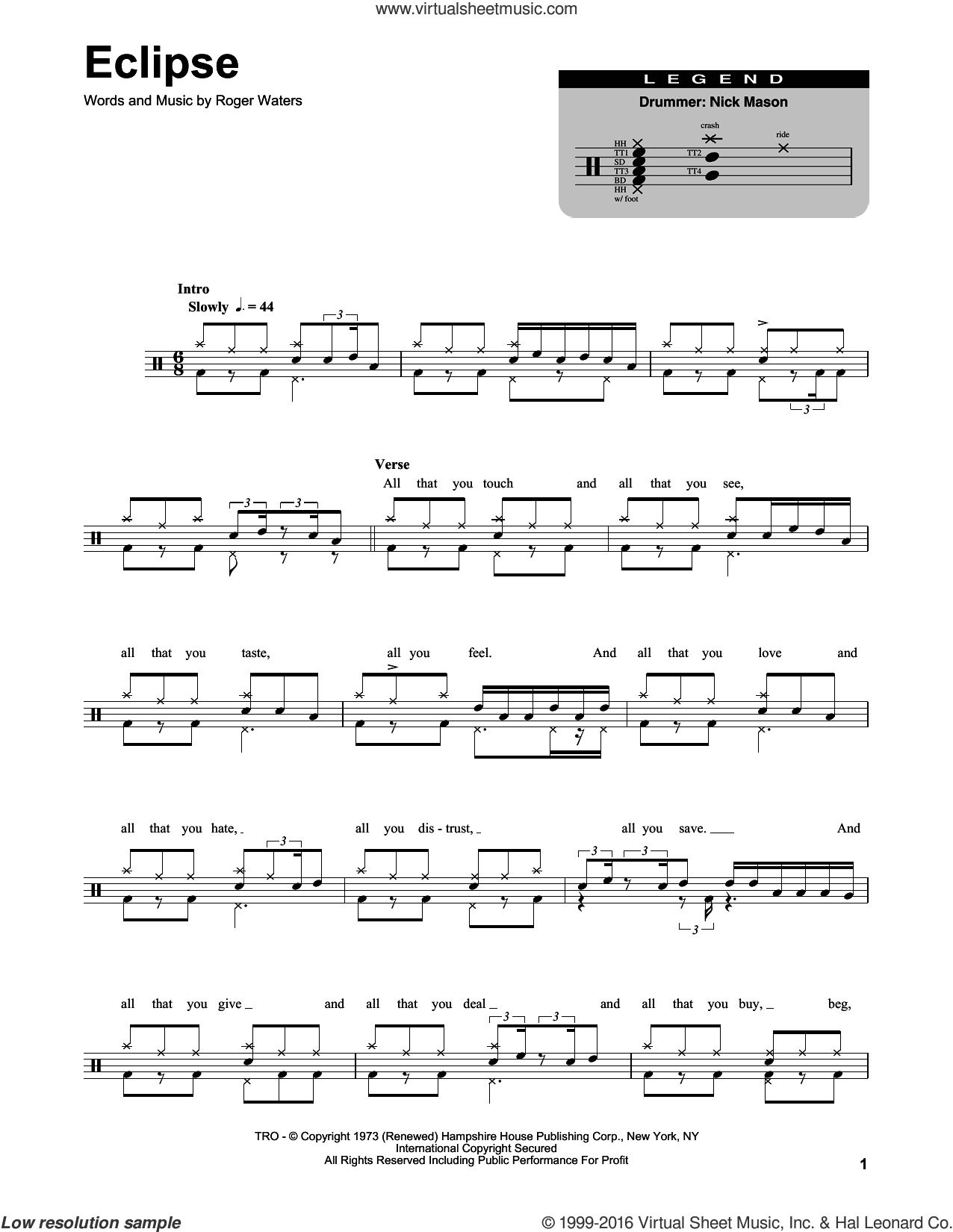 Eclipse sheet music for drums by Pink Floyd and Roger Waters, intermediate drums. Score Image Preview.