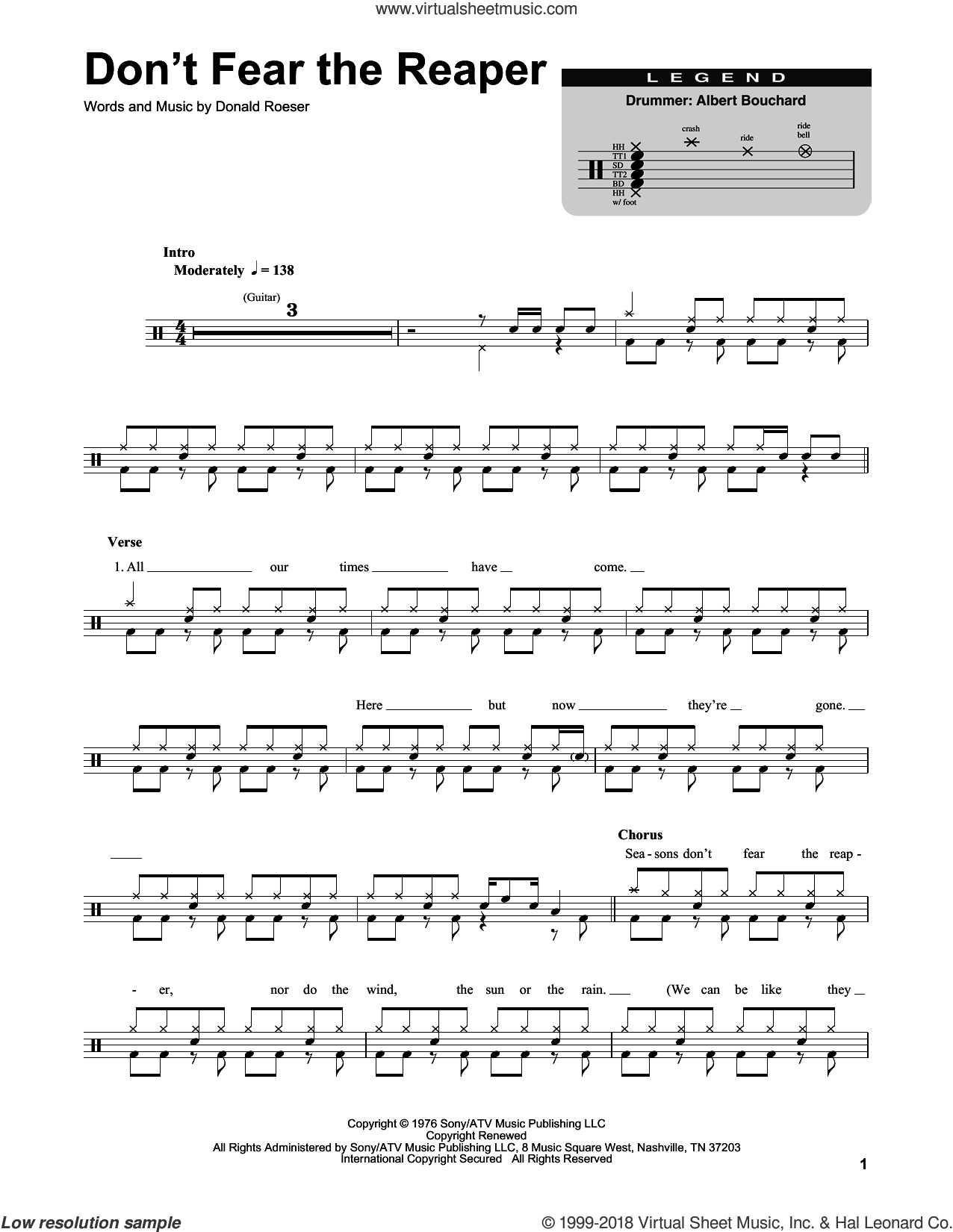 Don't Fear The Reaper sheet music for drums by Blue Oyster Cult and Donald Roeser, intermediate skill level