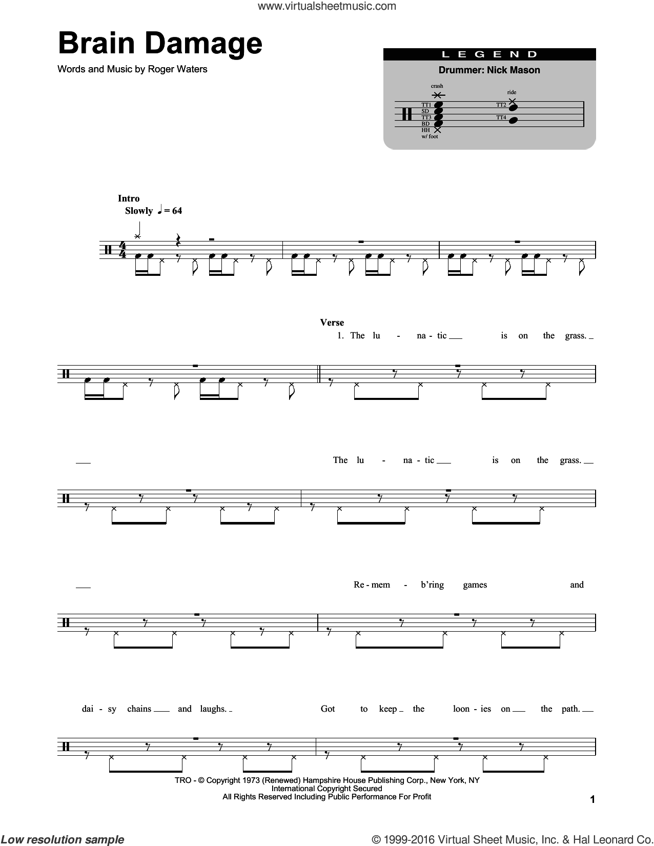 Brain Damage sheet music for drums by Roger Waters and Pink Floyd. Score Image Preview.