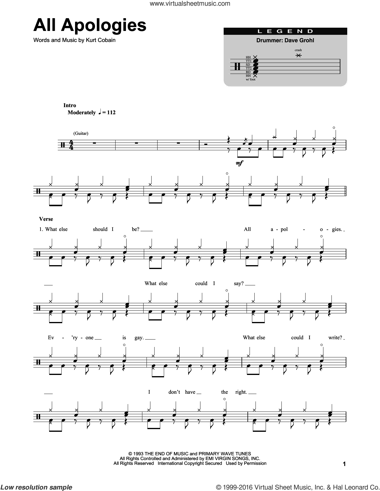 All Apologies sheet music for drums by Kurt Cobain and Nirvana. Score Image Preview.