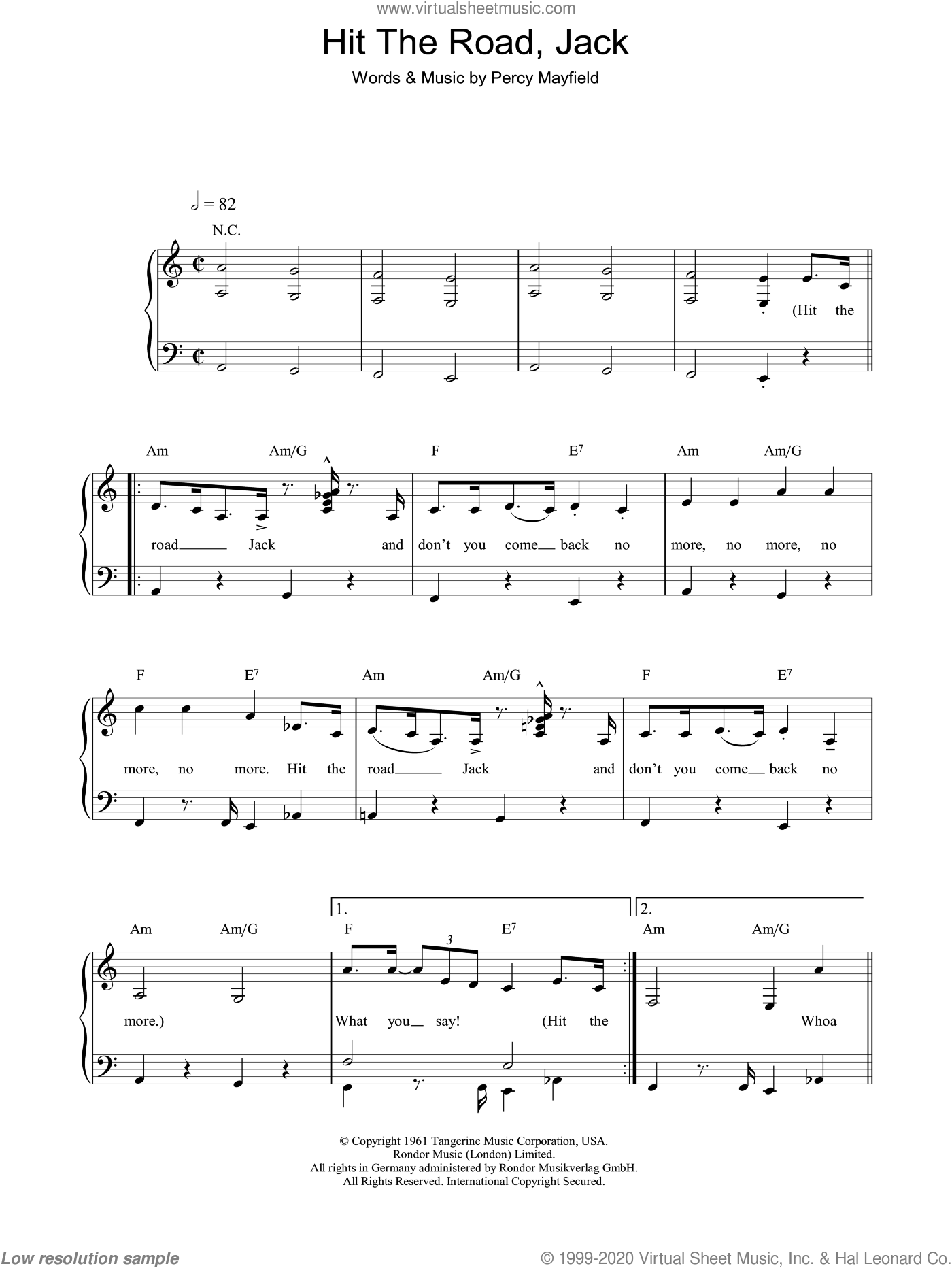 Hit The Road Jack sheet music for piano solo by Ray Charles and Percy Mayfield, easy skill level