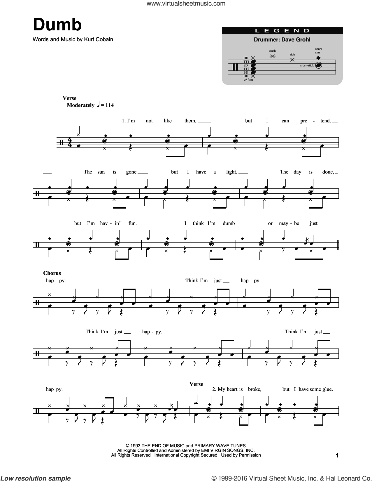 Dumb sheet music for drums by Nirvana and Kurt Cobain, intermediate. Score Image Preview.