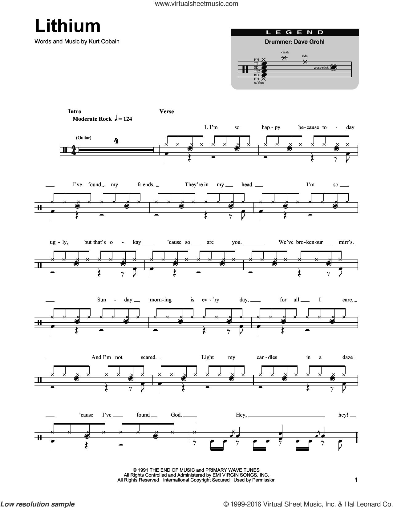 Lithium sheet music for drums by Kurt Cobain and Nirvana. Score Image Preview.