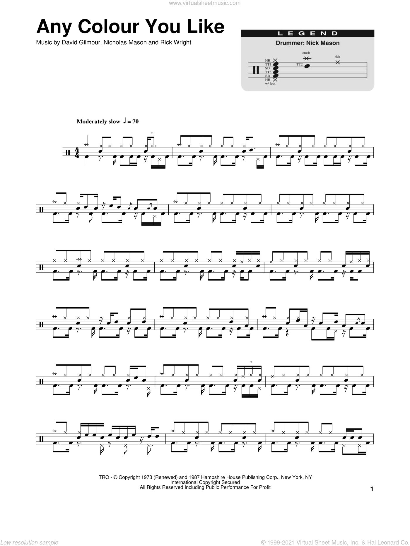 Any Colour You Like sheet music for drums by Pink Floyd, David Gilmour and Richard Wright, intermediate drums. Score Image Preview.