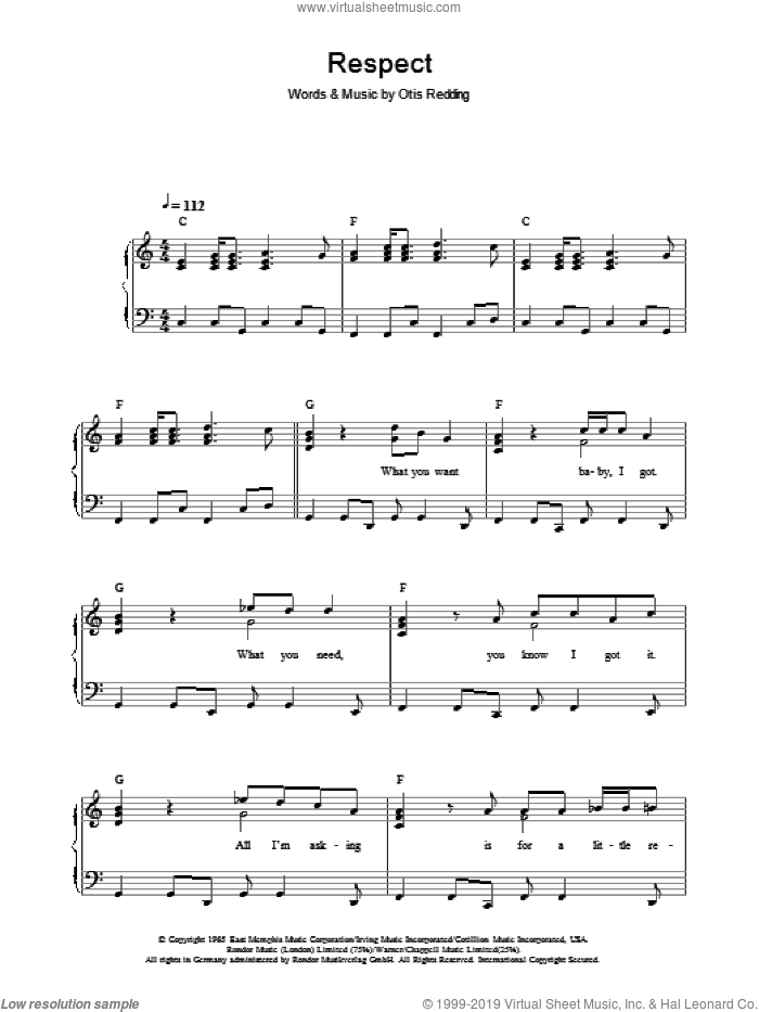 Respect sheet music for piano solo by Otis Redding and Aretha Franklin, easy skill level