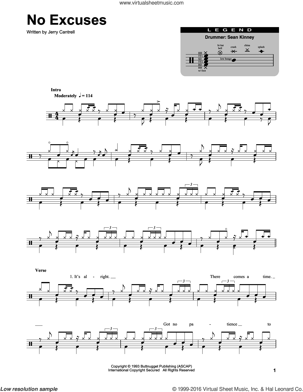 No Excuses sheet music for drums by Jerry Cantrell and Alice In Chains. Score Image Preview.