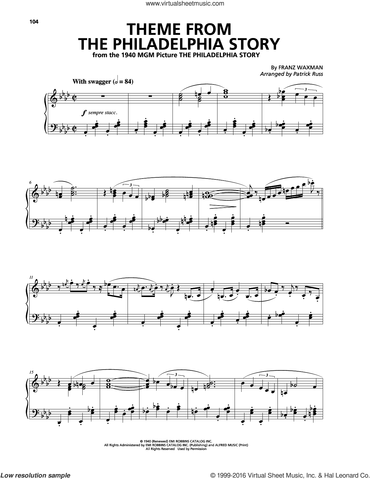Theme From The Philadelphia Story sheet music for piano solo by Franz Waxman, intermediate skill level