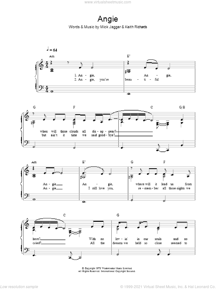 Angie sheet music for voice, piano or guitar by Keith Richards, The Rolling Stones and Mick Jagger. Score Image Preview.