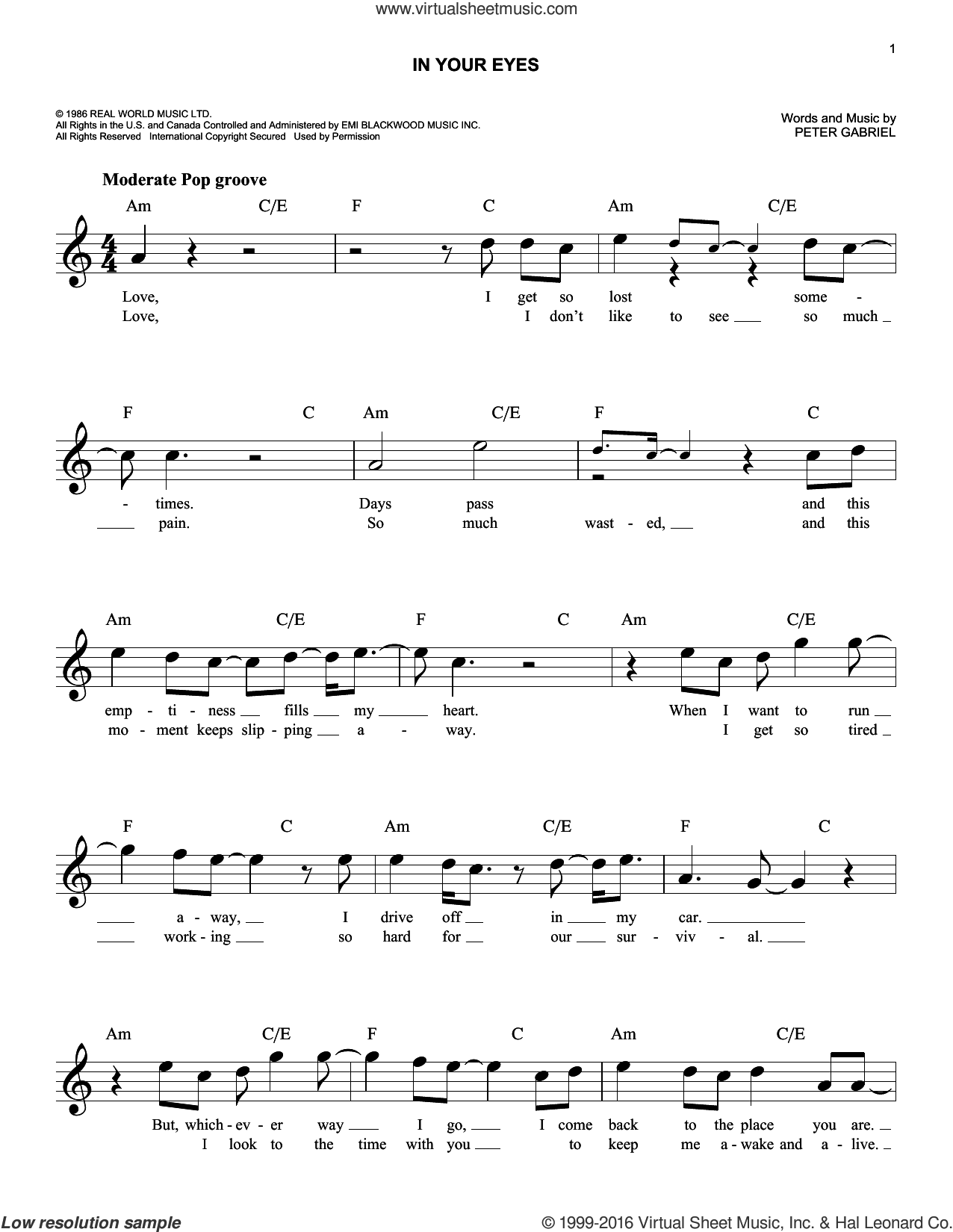 In Your Eyes sheet music for voice and other instruments (fake book) by Peter Gabriel, intermediate. Score Image Preview.