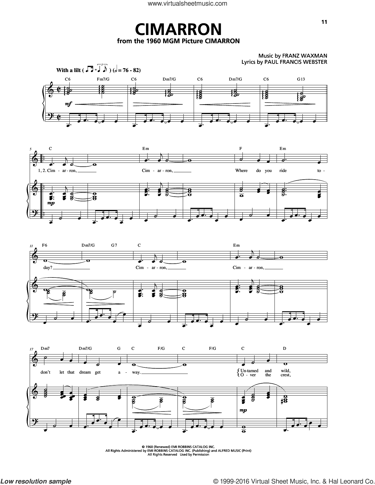 Cimarron sheet music for voice, piano or guitar by Paul Francis Webster and Franz Waxman. Score Image Preview.