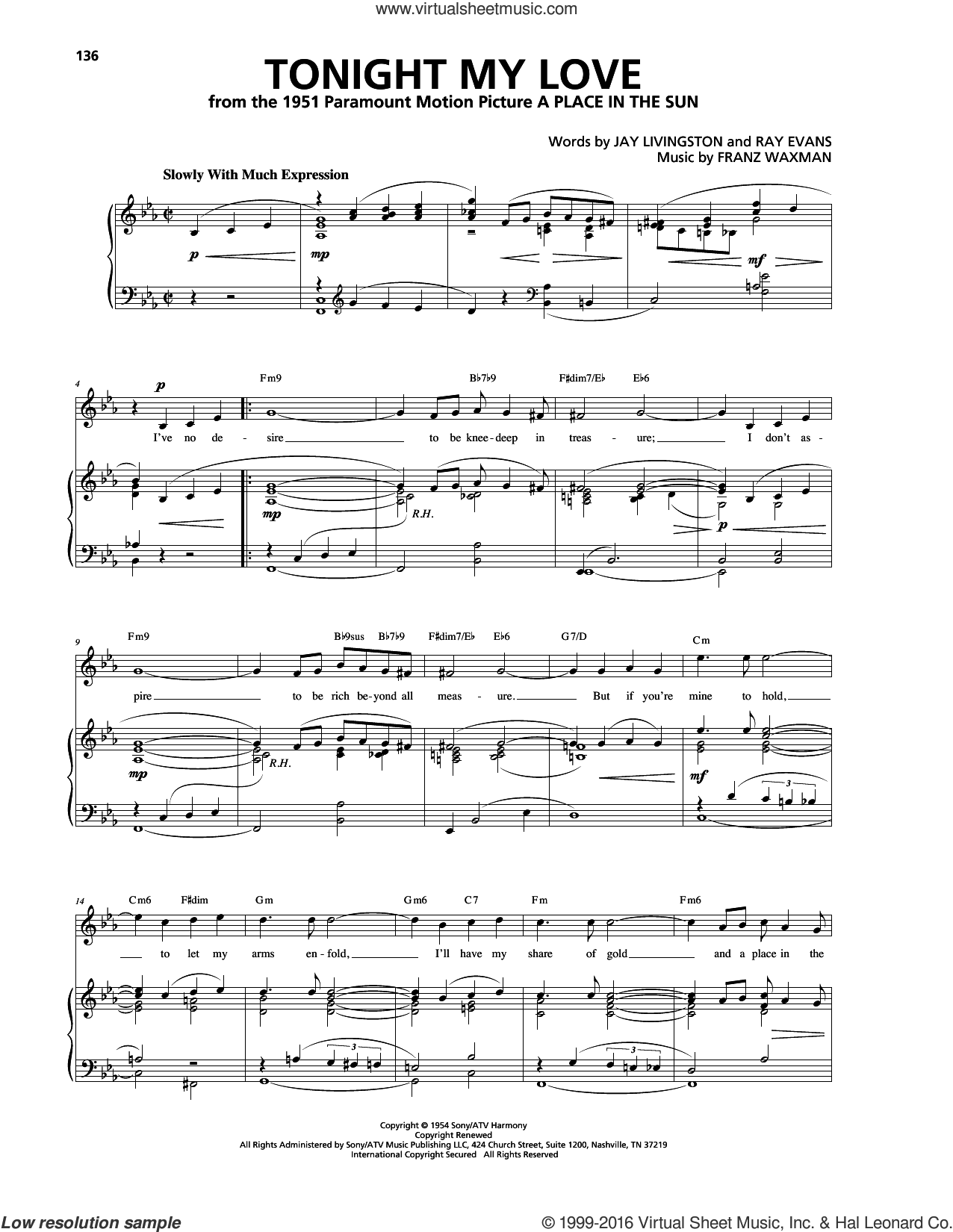 Tonight My Love sheet music for voice, piano or guitar by Jay Livingston, Franz Waxman and Ray Evans. Score Image Preview.