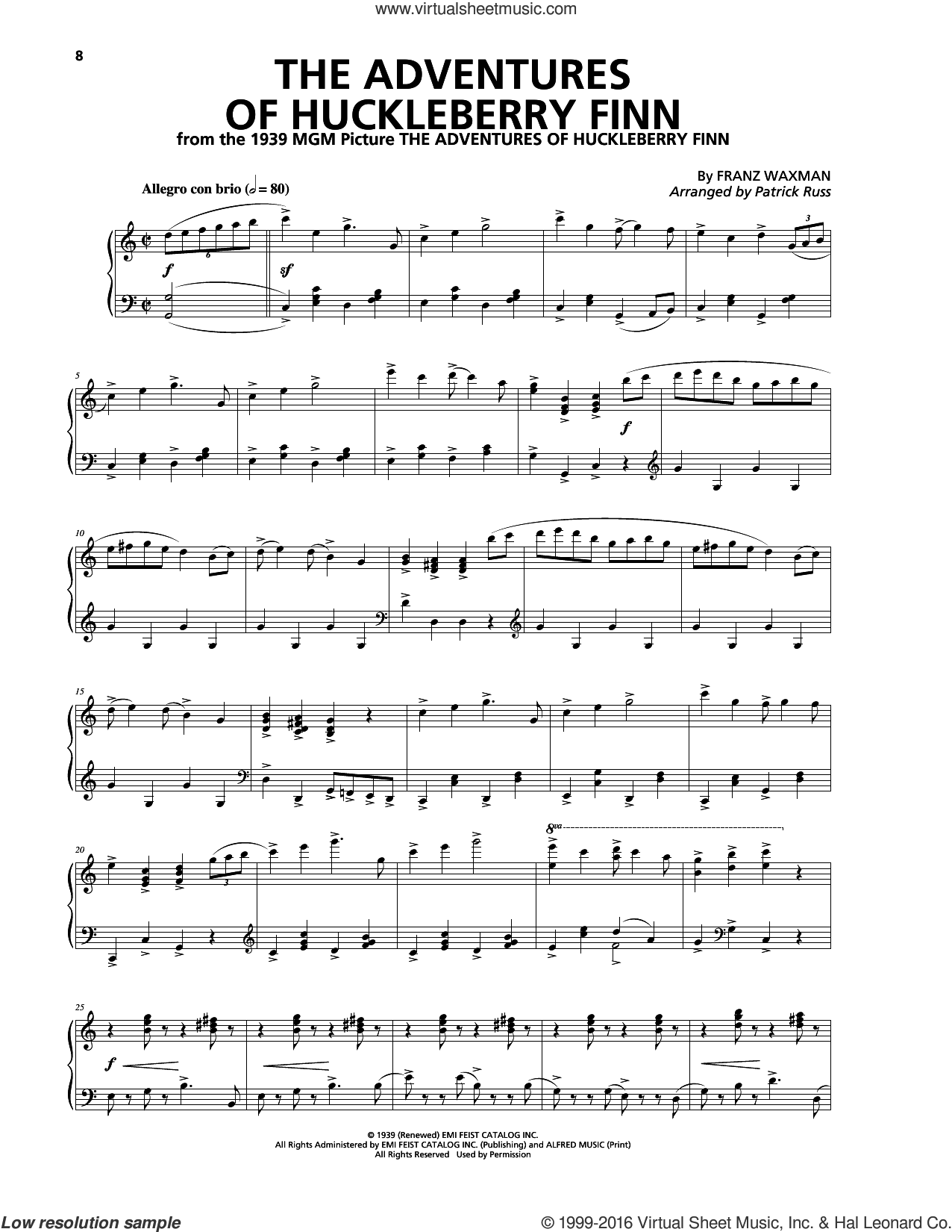 The Adventures Of Huckleberry Finn sheet music for piano solo by Franz Waxman, intermediate skill level