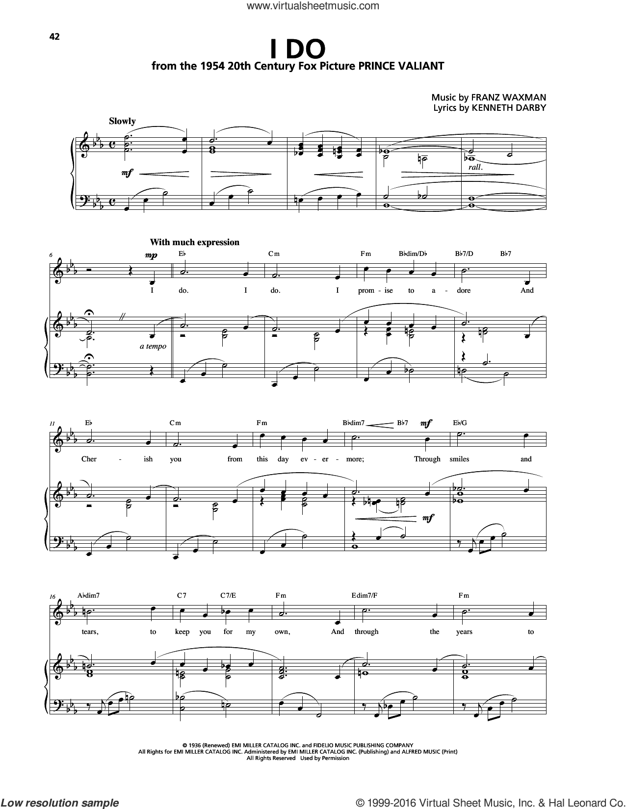I Do sheet music for voice, piano or guitar by Kenneth Darby and Franz Waxman. Score Image Preview.