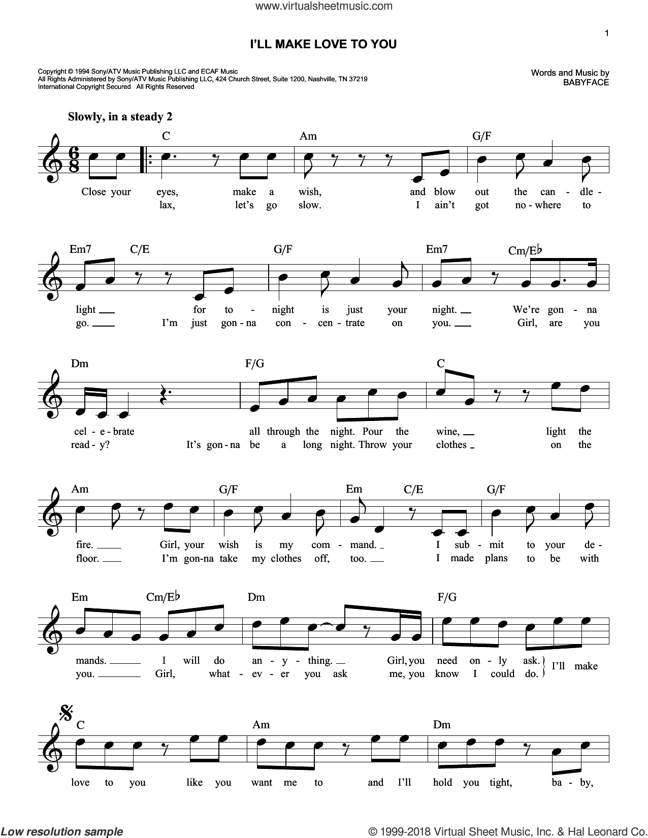 I'll Make Love To You sheet music for voice and other instruments (fake book) by Boyz II Men and Babyface, intermediate. Score Image Preview.