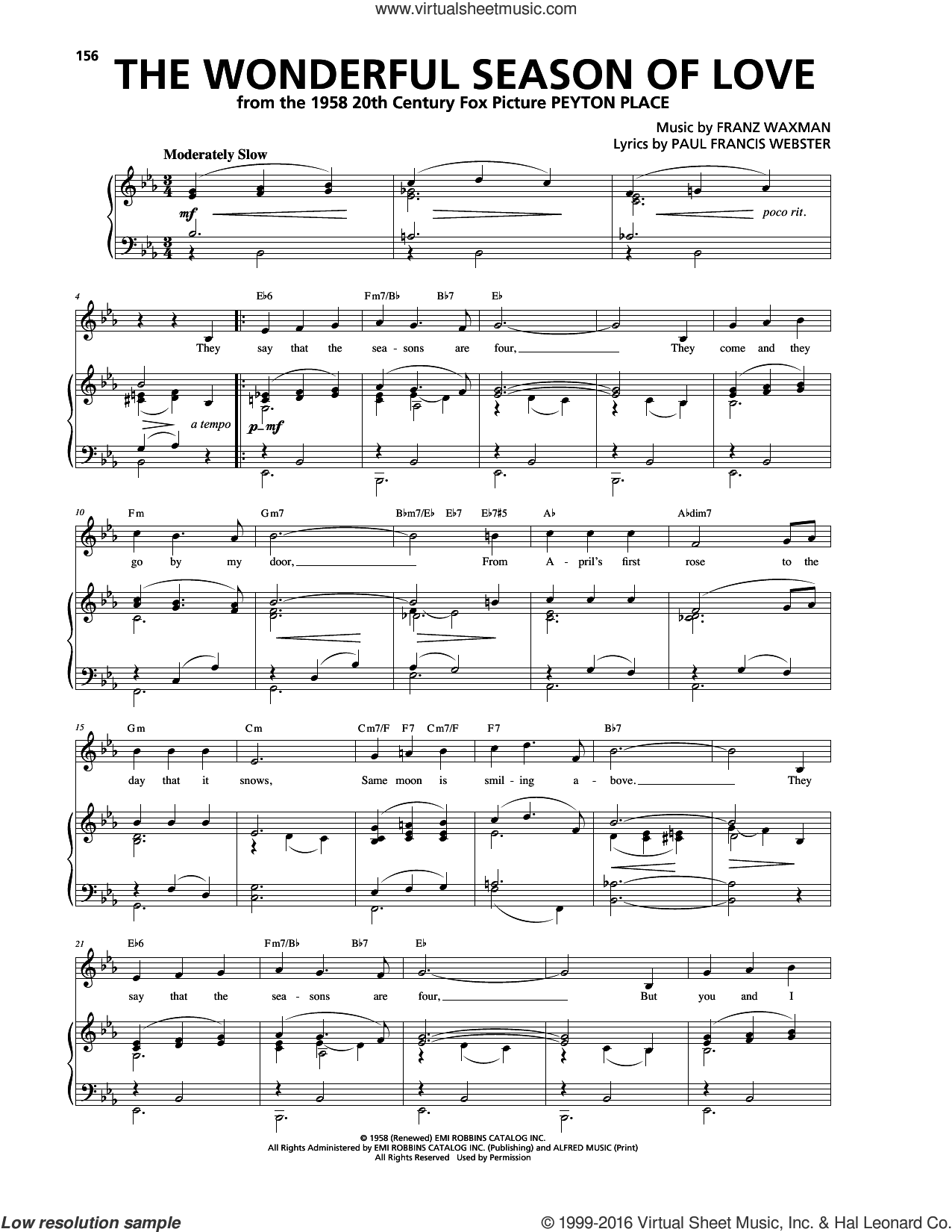 The Wonderful Season Of Love sheet music for voice, piano or guitar by Franz Waxman and Paul Francis Webster, intermediate