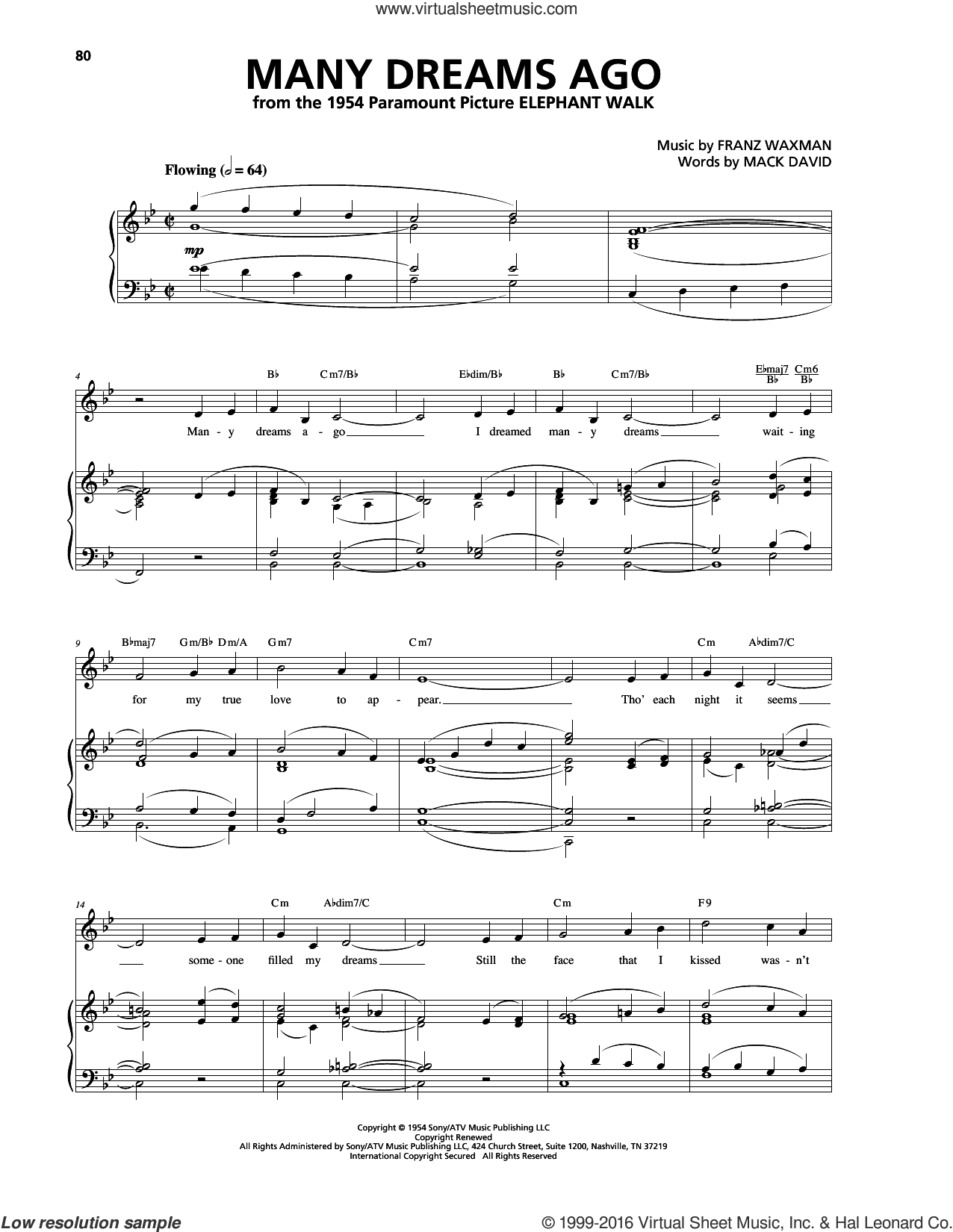 Many Dreams Ago sheet music for voice, piano or guitar by Franz Waxman and Mack David. Score Image Preview.