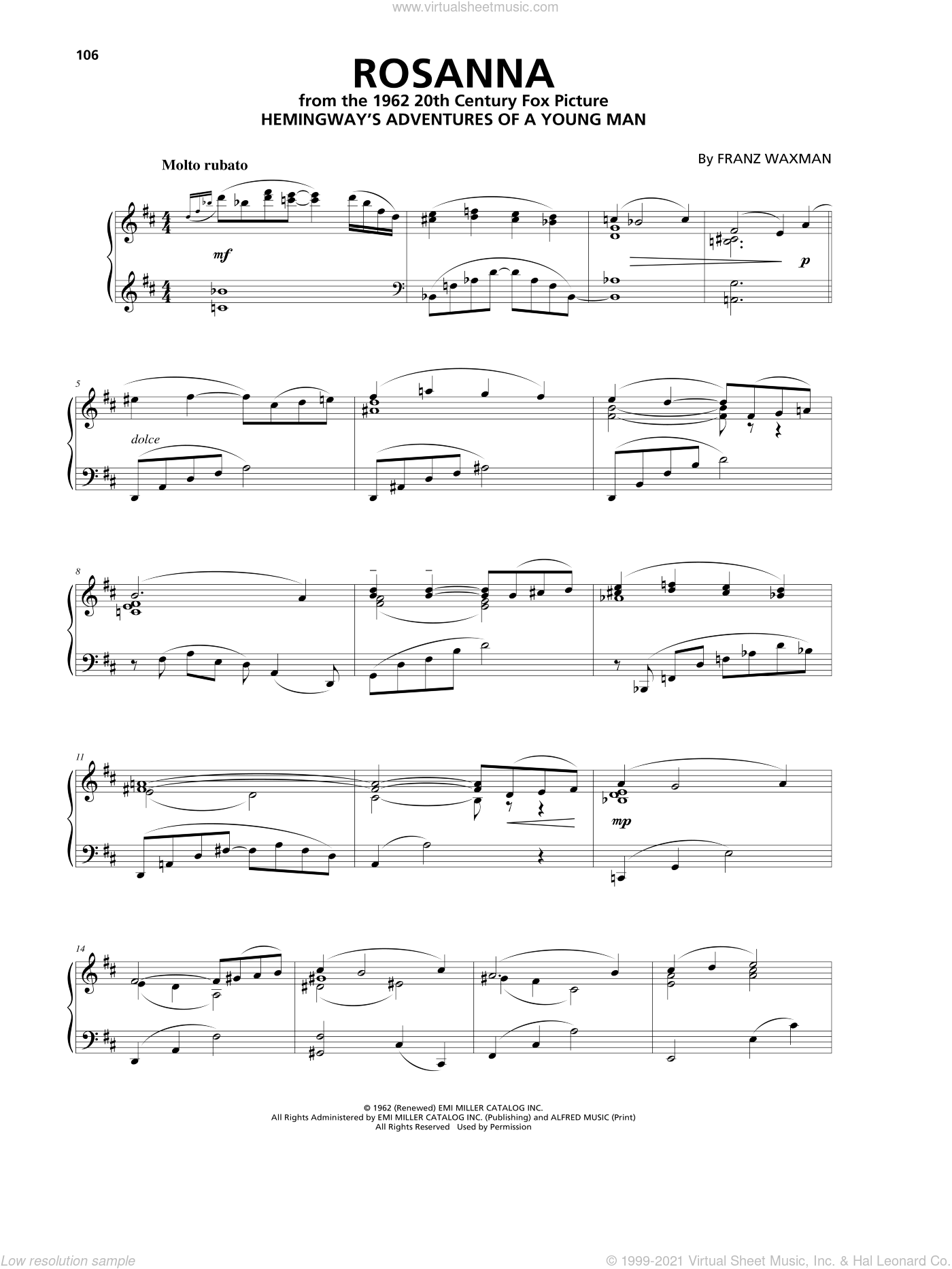 Rosanna sheet music for piano solo by Franz Waxman, intermediate skill level