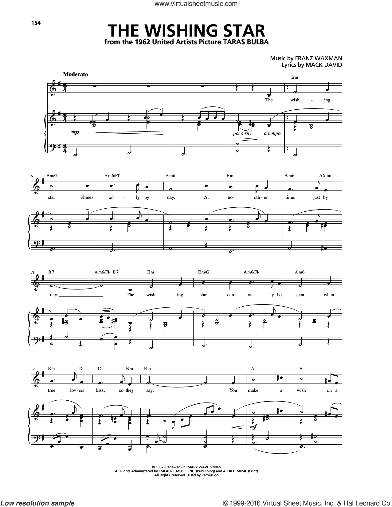 The Wishing Star sheet music for voice, piano or guitar by Franz Waxman. Score Image Preview.