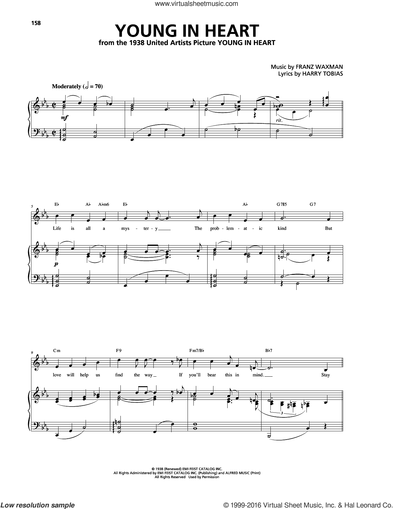 Young In Heart sheet music for voice, piano or guitar by Franz Waxman and Harry Tobias, intermediate. Score Image Preview.
