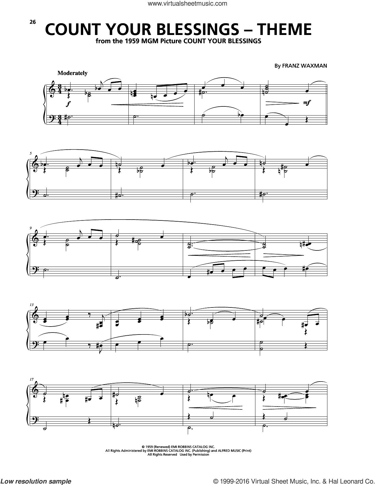 Count Your Blessings (Theme) sheet music for piano solo by Franz Waxman, intermediate. Score Image Preview.