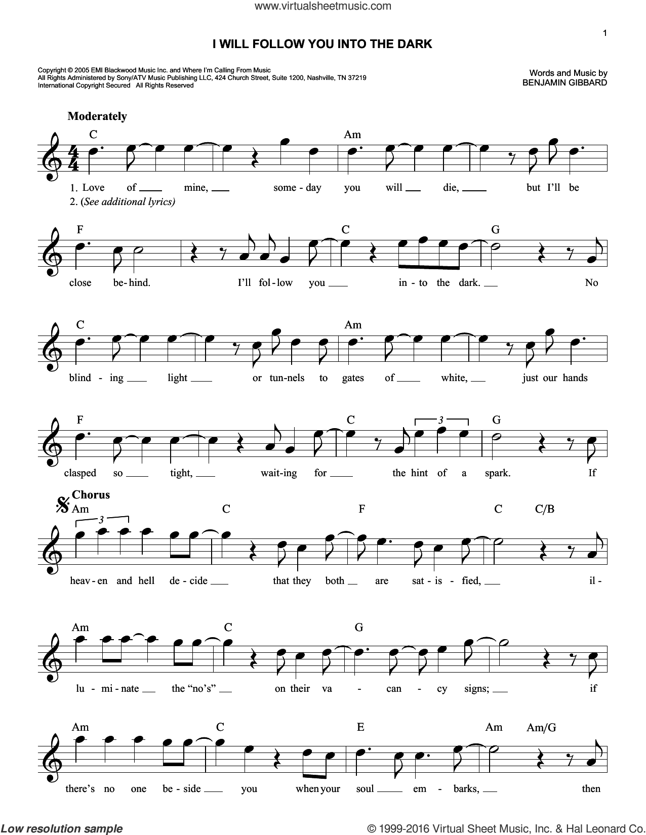 I Will Follow You Into The Dark sheet music for voice and other instruments (fake book) by Death Cab For Cutie, intermediate voice. Score Image Preview.