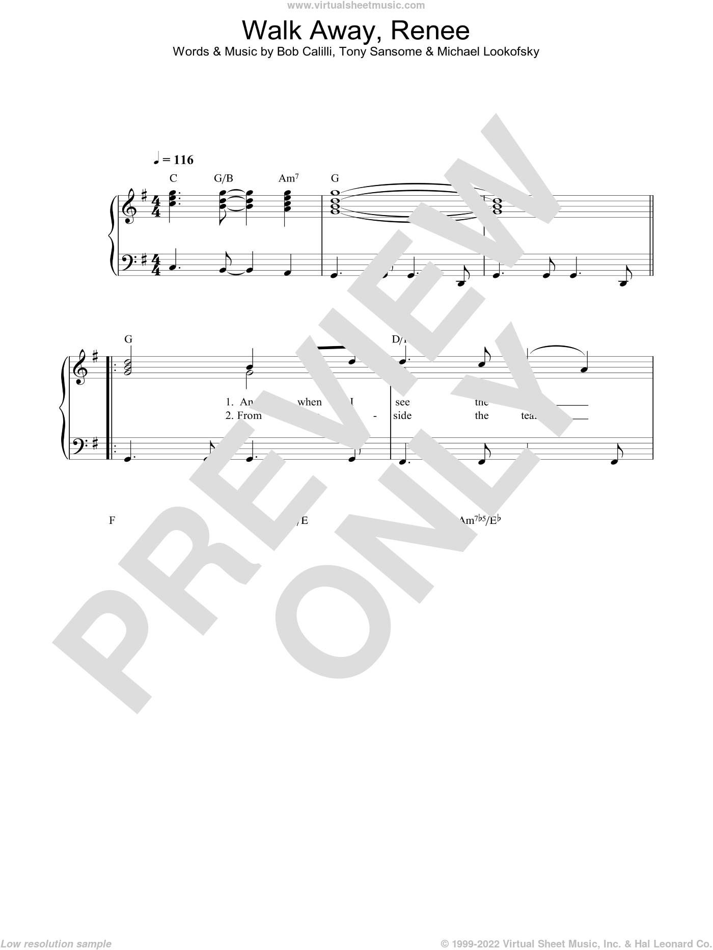 Walk Away, Renee sheet music for voice, piano or guitar by Bob Calilli and The Four Tops. Score Image Preview.