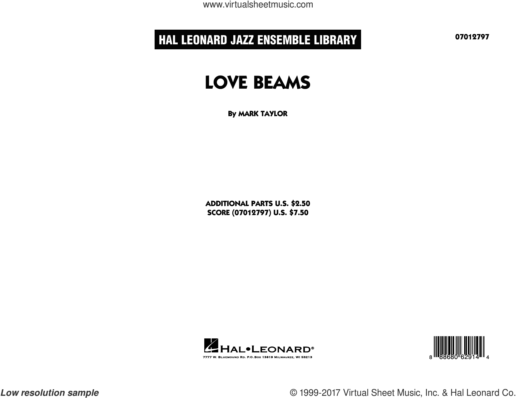 Love Beams (COMPLETE) sheet music for jazz band by Mark Taylor, intermediate skill level