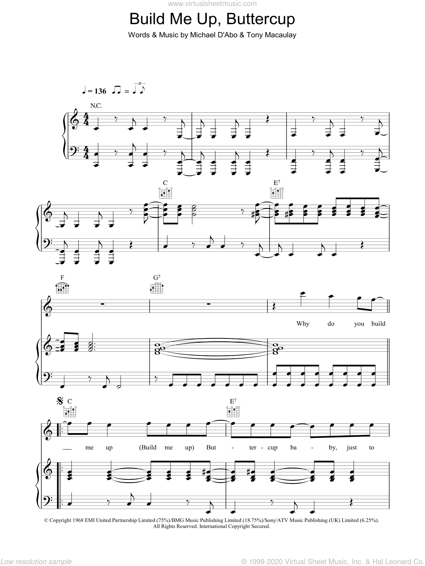 Build Me Up, Buttercup sheet music for voice, piano or guitar by Tony Macaulay and The Foundations. Score Image Preview.