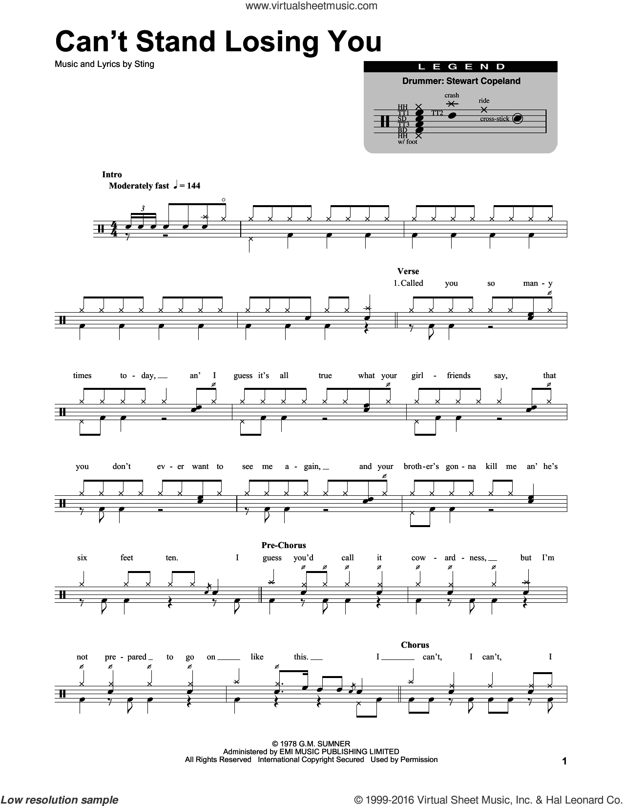 Can't Stand Losing You sheet music for drums by Sting and The Police. Score Image Preview.