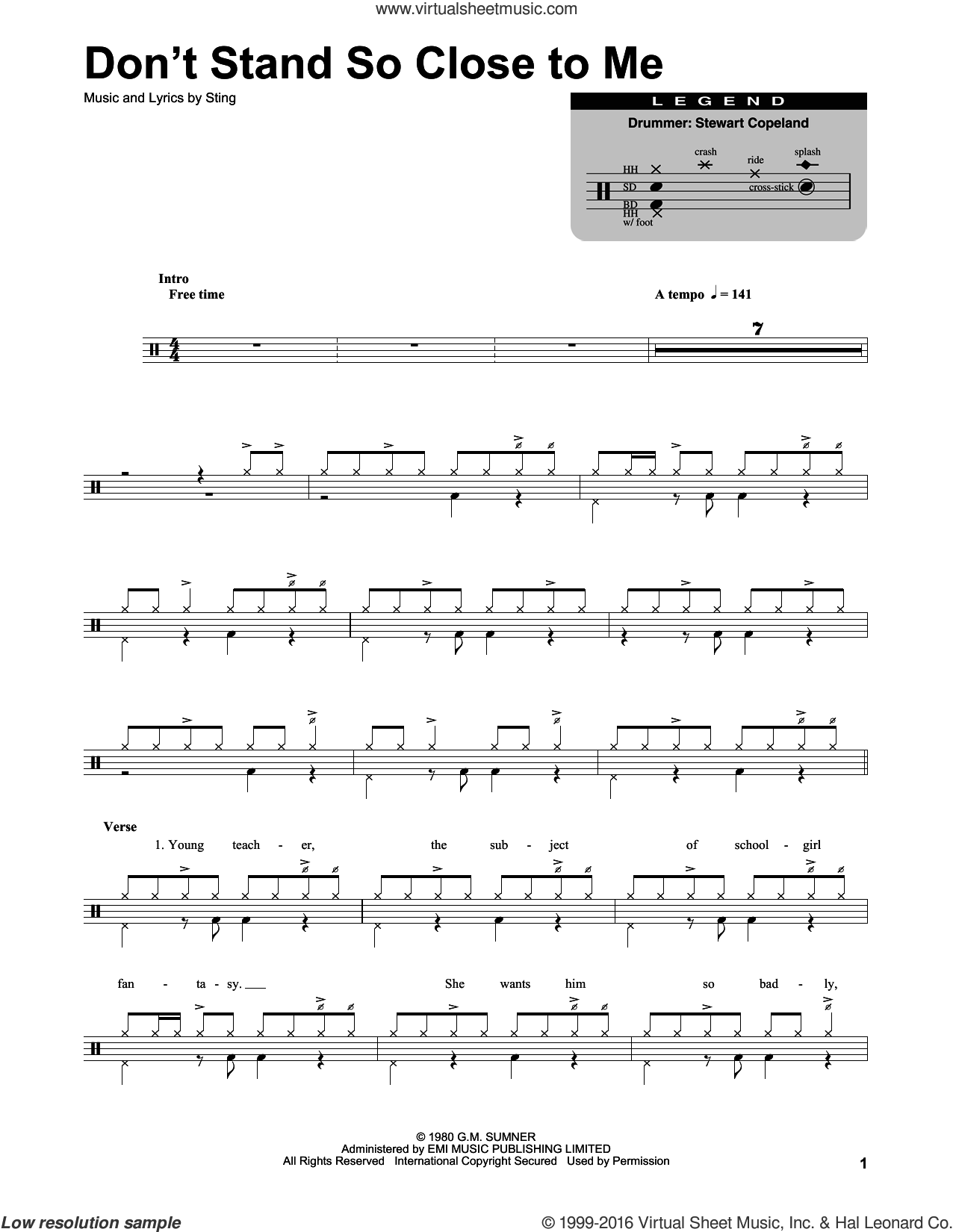 Don't Stand So Close To Me sheet music for drums by The Police and Sting, intermediate skill level