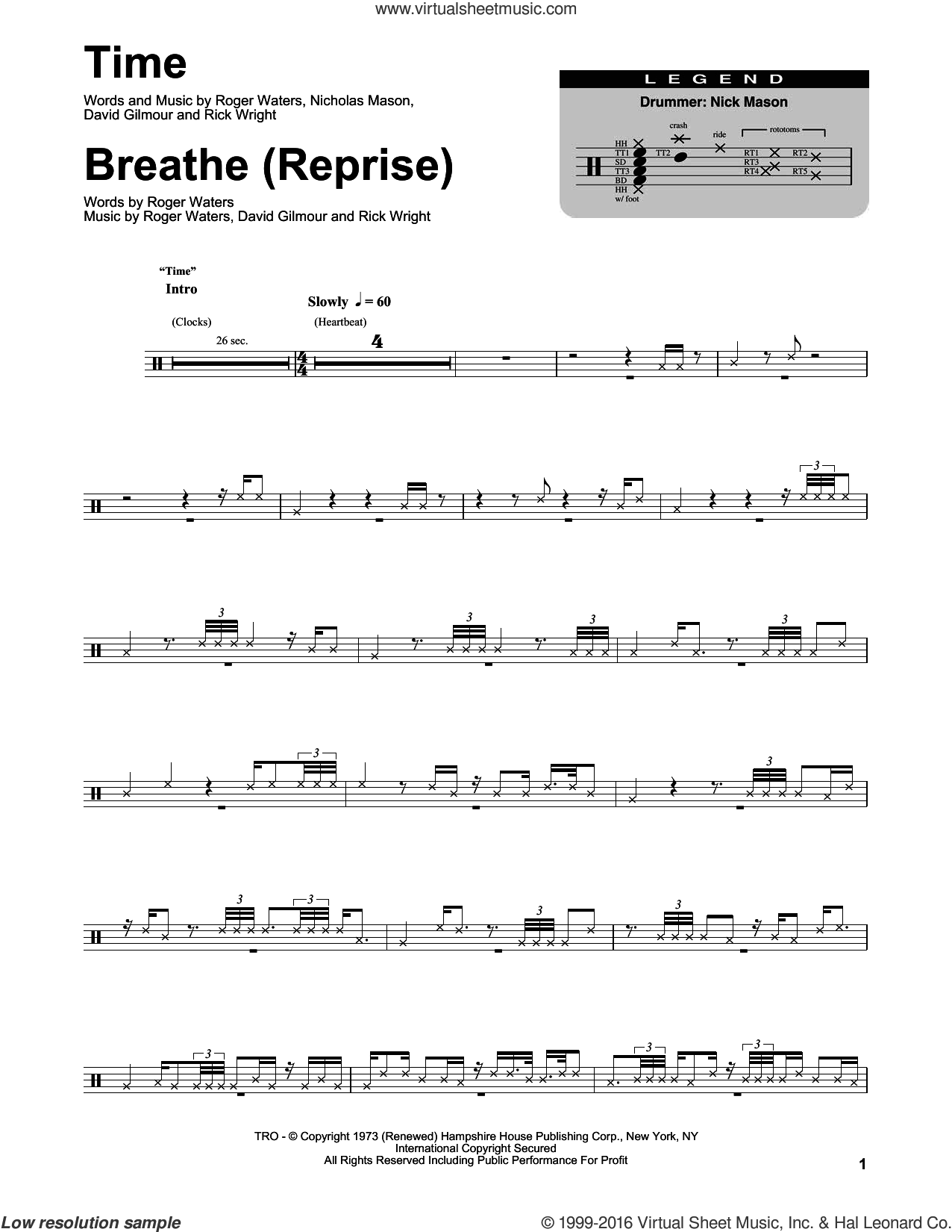 Time sheet music for drums by Roger Waters, Pink Floyd, David Gilmour and Richard Wright. Score Image Preview.