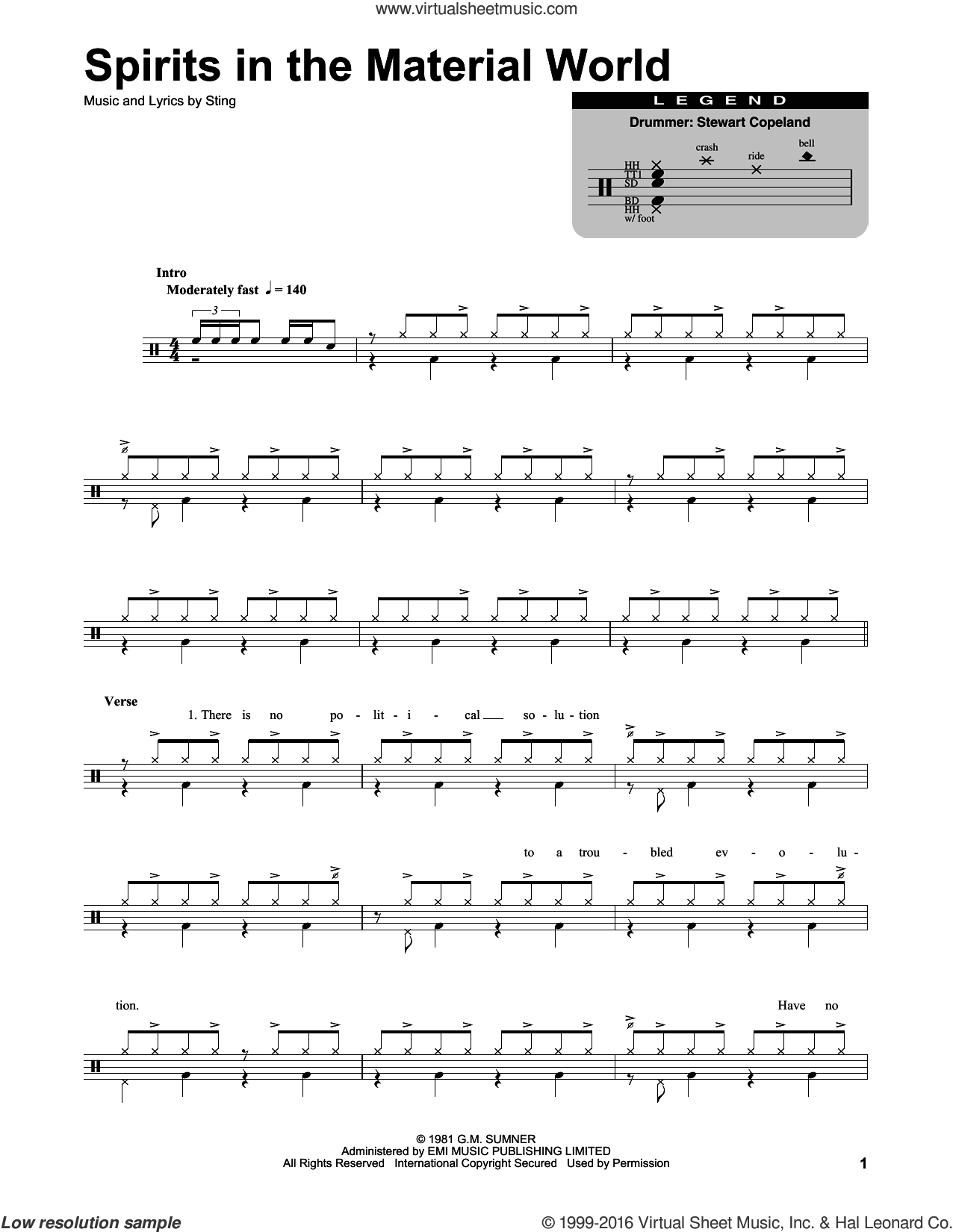 Spirits In The Material World sheet music for drums by The Police and Sting, intermediate drums. Score Image Preview.