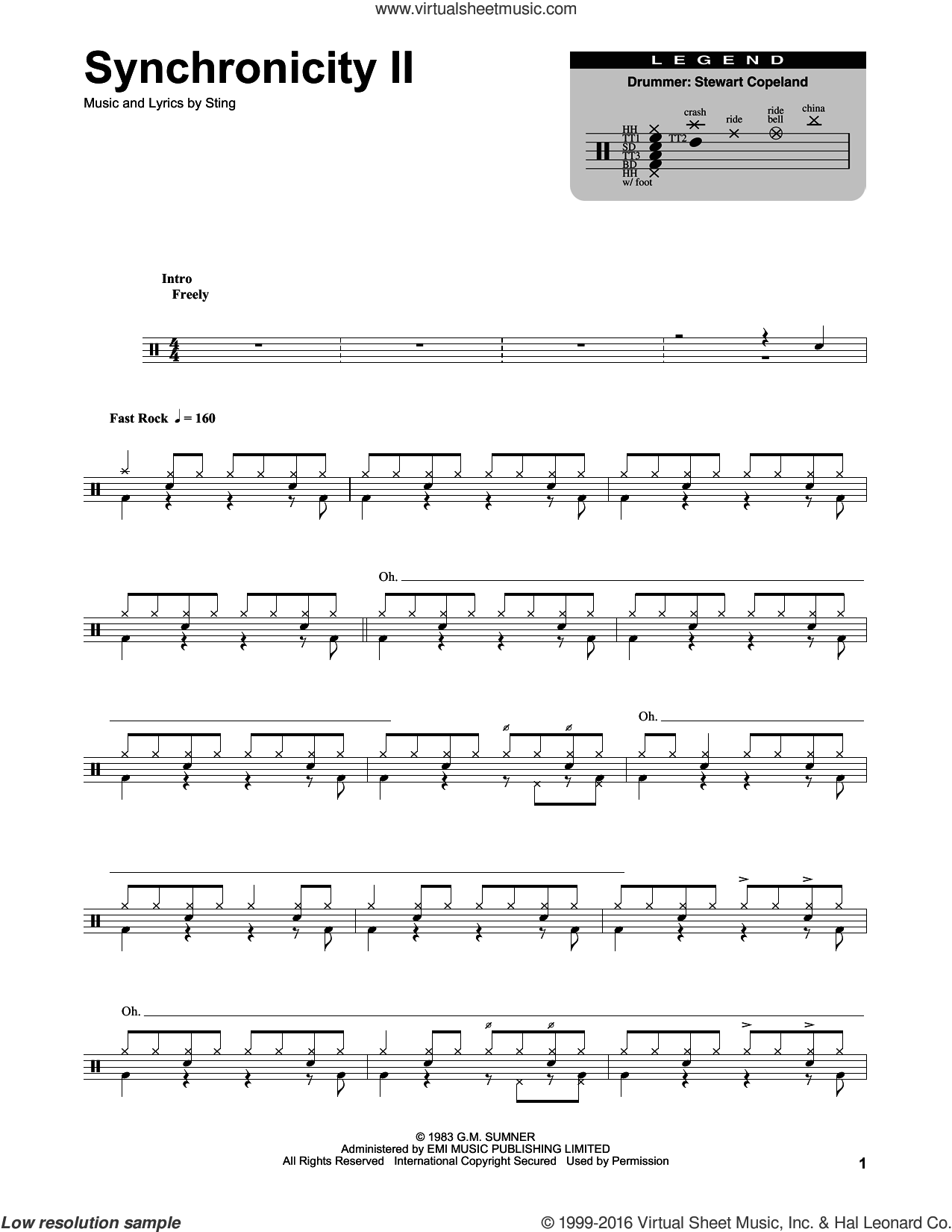Synchronicity II sheet music for drums by The Police and Sting, intermediate skill level