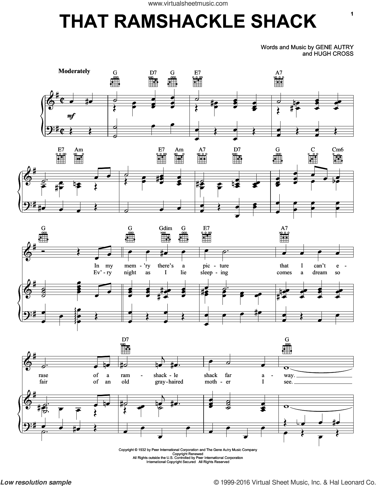 That Ramshackle Shack sheet music for voice, piano or guitar by Gene Autry and Hugh Cross, intermediate skill level