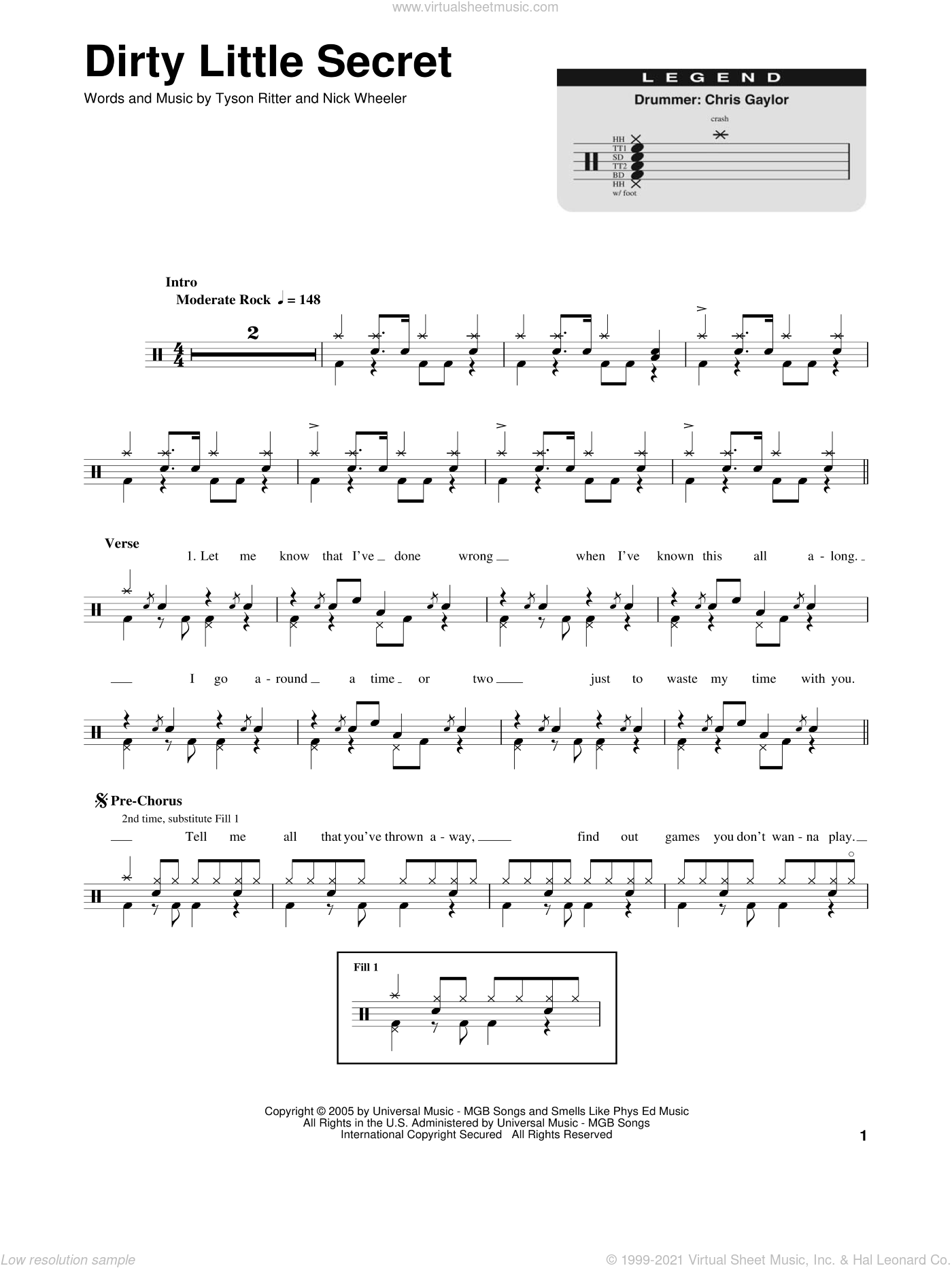 Dirty Little Secret sheet music for drums by The All-American Rejects. Score Image Preview.