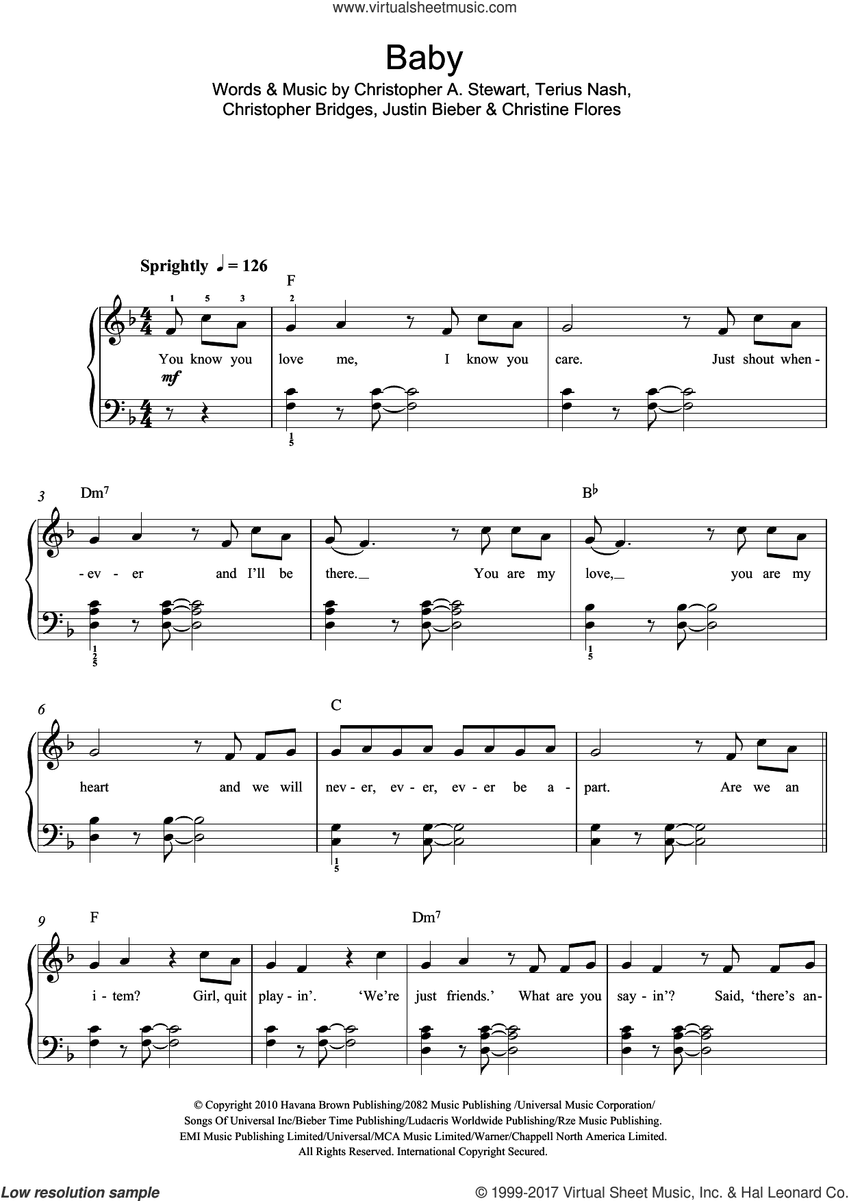 Baby sheet music for voice, piano or guitar by Justin Bieber, Christine Flores, Christopher Bridges and Terius Nash, intermediate. Score Image Preview.