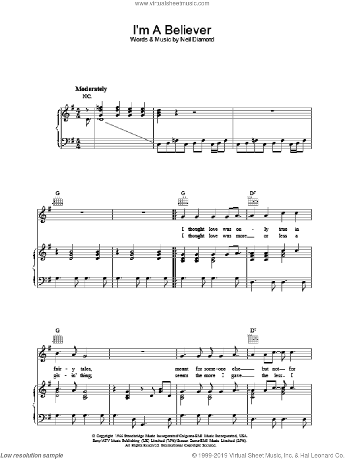 I'm A Believer sheet music for voice, piano or guitar by The Monkees and Neil Diamond, intermediate skill level