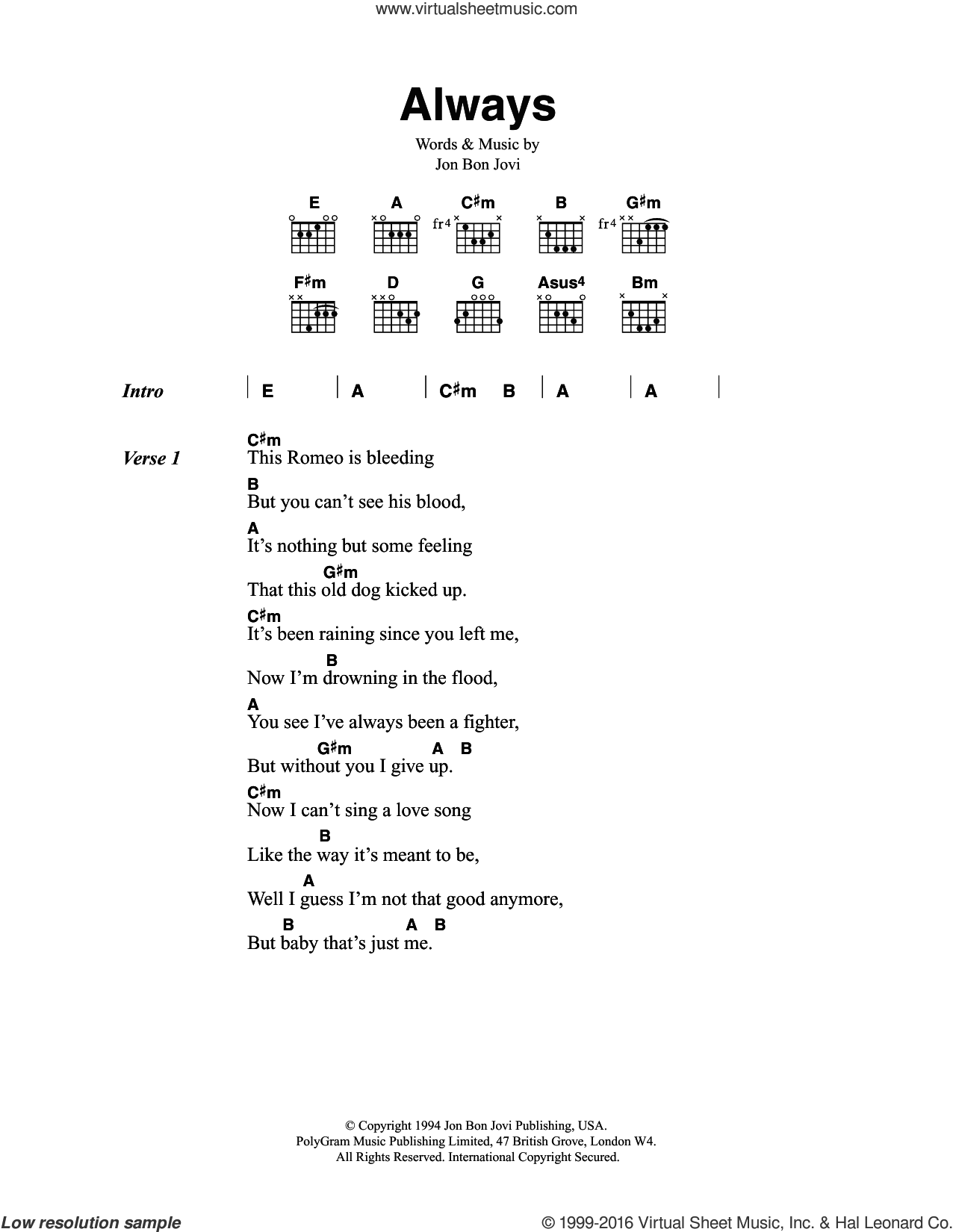 Always sheet music for guitar (chords) by Bon Jovi, intermediate
