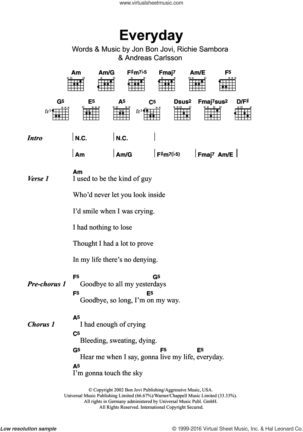 Everyday sheet music for guitar (chords) by Bon Jovi, Andreas Carlsson and Richie Sambora, intermediate skill level
