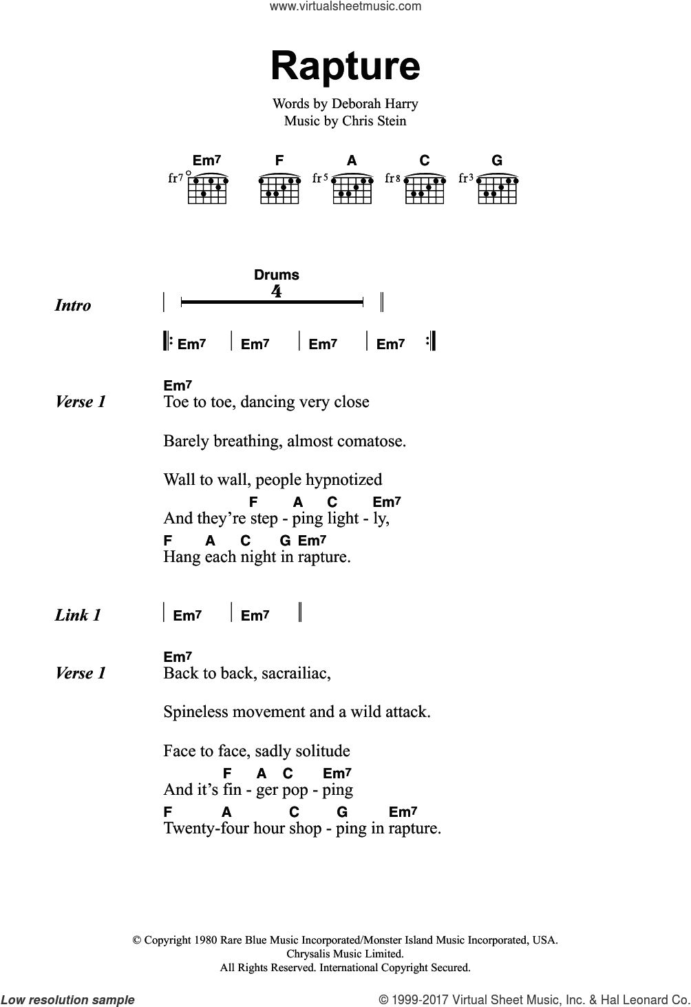 Rapture sheet music for guitar (chords) by Blondie, Chris Stein and Deborah Harry, intermediate skill level
