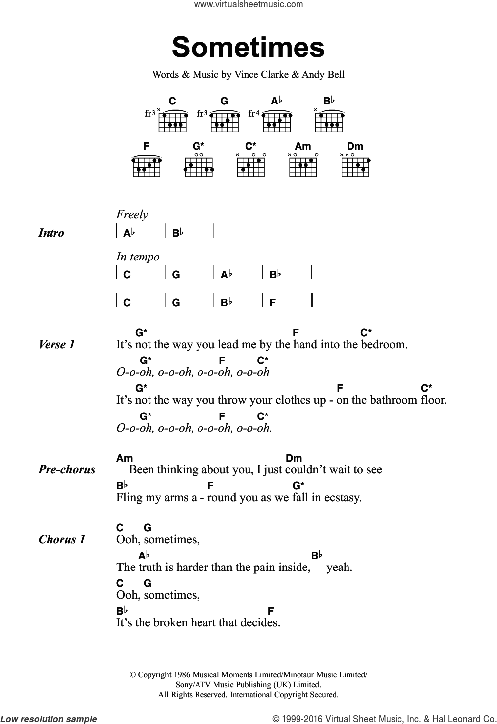 Sometimes sheet music for guitar (chords) by Vince Clarke, Erasure and Andy Bell. Score Image Preview.