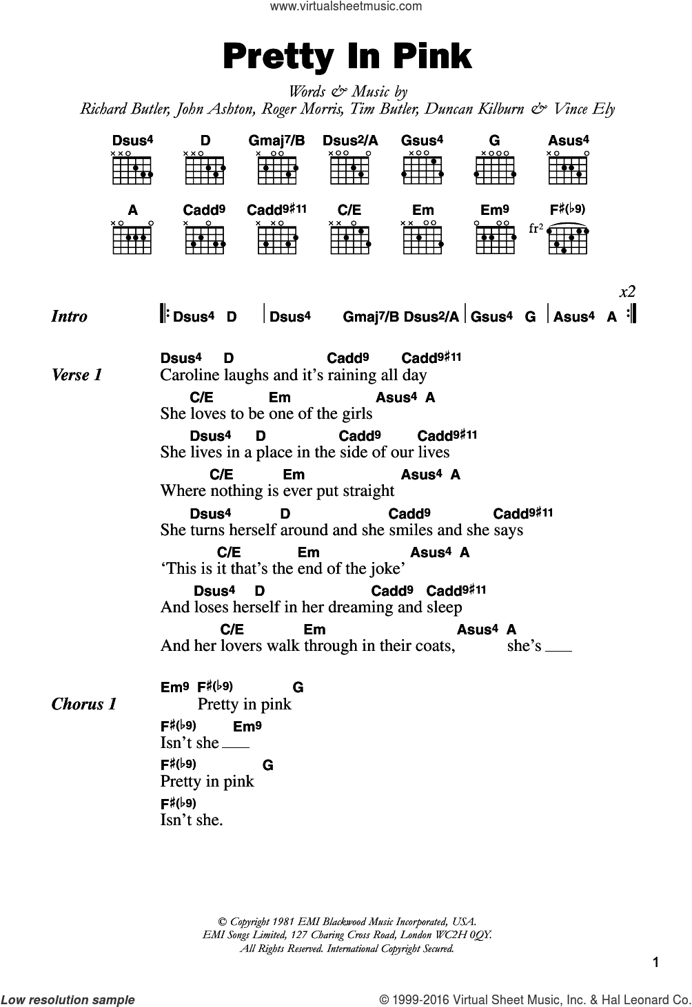 Furs Pretty In Pink Sheet Music For Guitar Chords Pdf