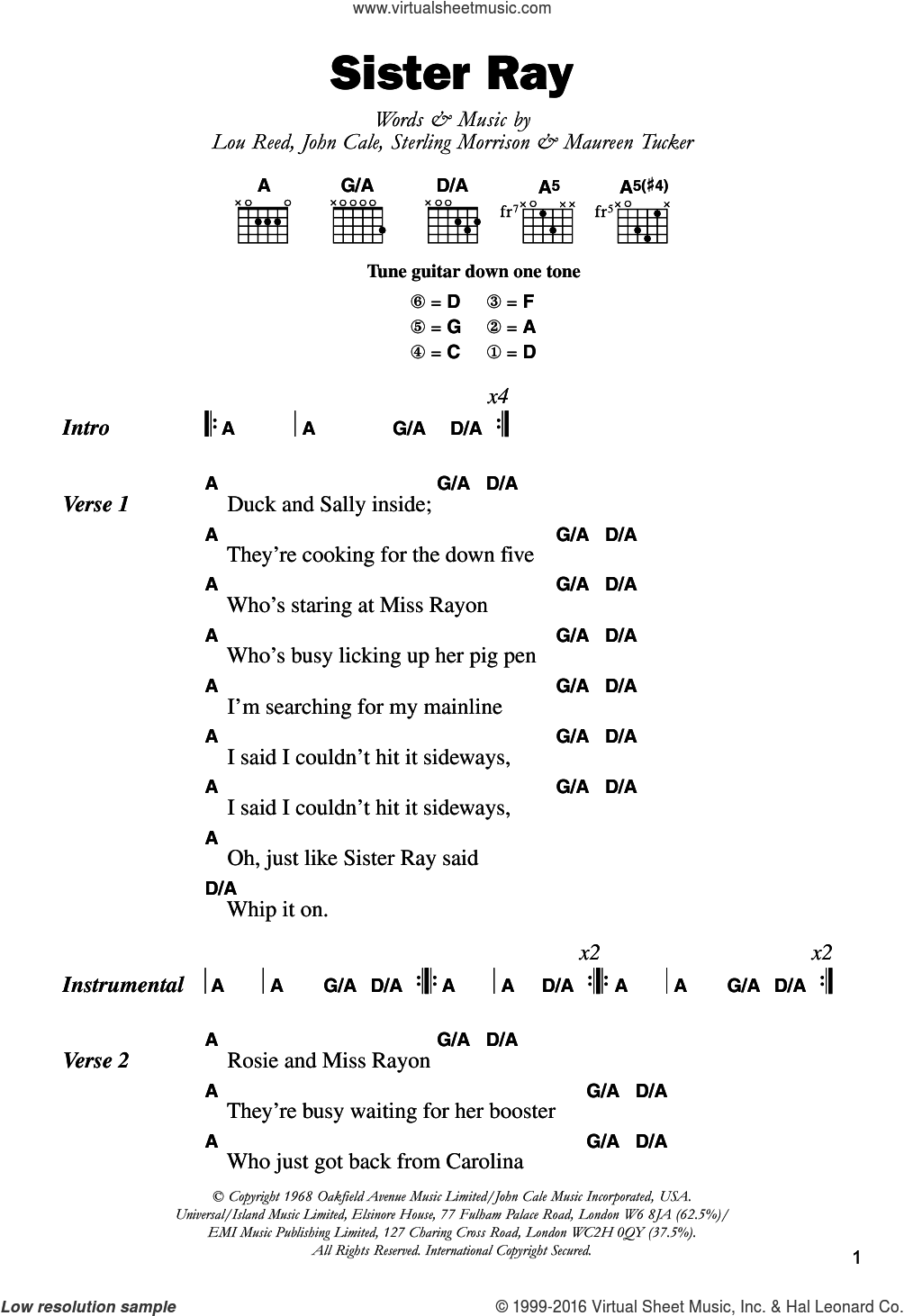 Sister Ray sheet music for guitar (chords) by The Velvet Underground, John Cale, Lou Reed, Maureen Tucker and Sterling Morrison, intermediate skill level