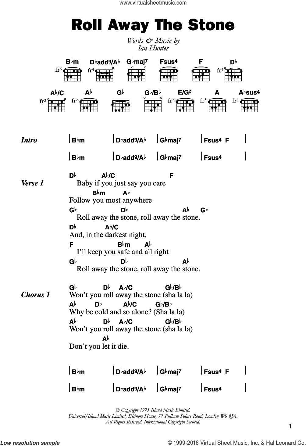 Roll Away The Stone sheet music for guitar (chords) by Mott The Hoople and Ian Hunter, intermediate skill level