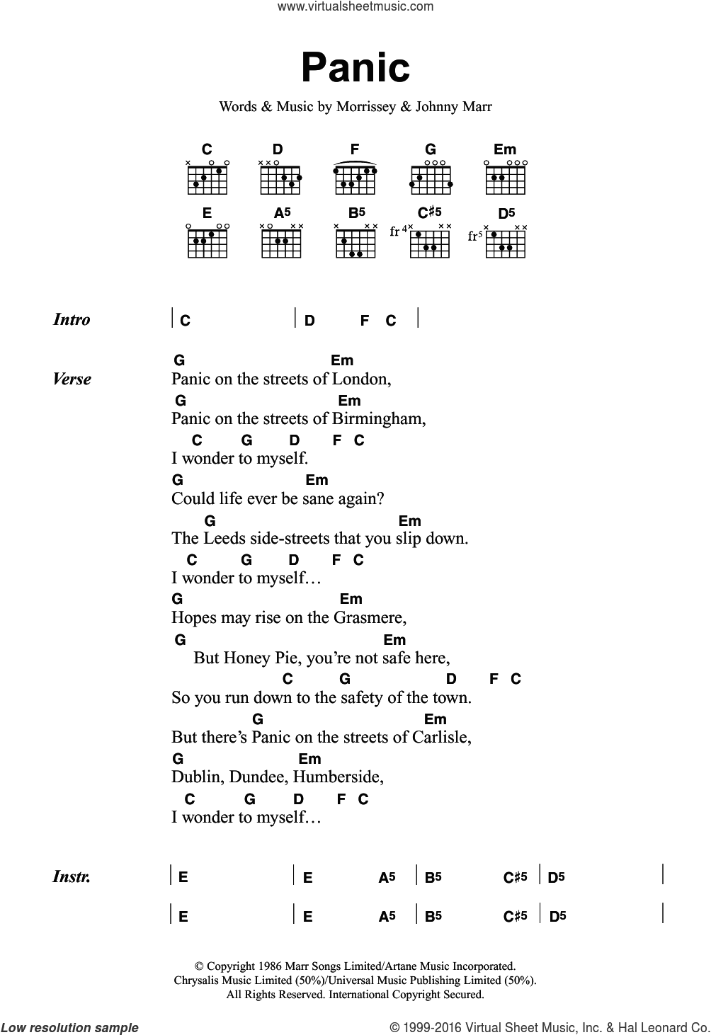 Panic sheet music for guitar (chords) by Steven Morrissey, The Smiths and Johnny Marr. Score Image Preview.