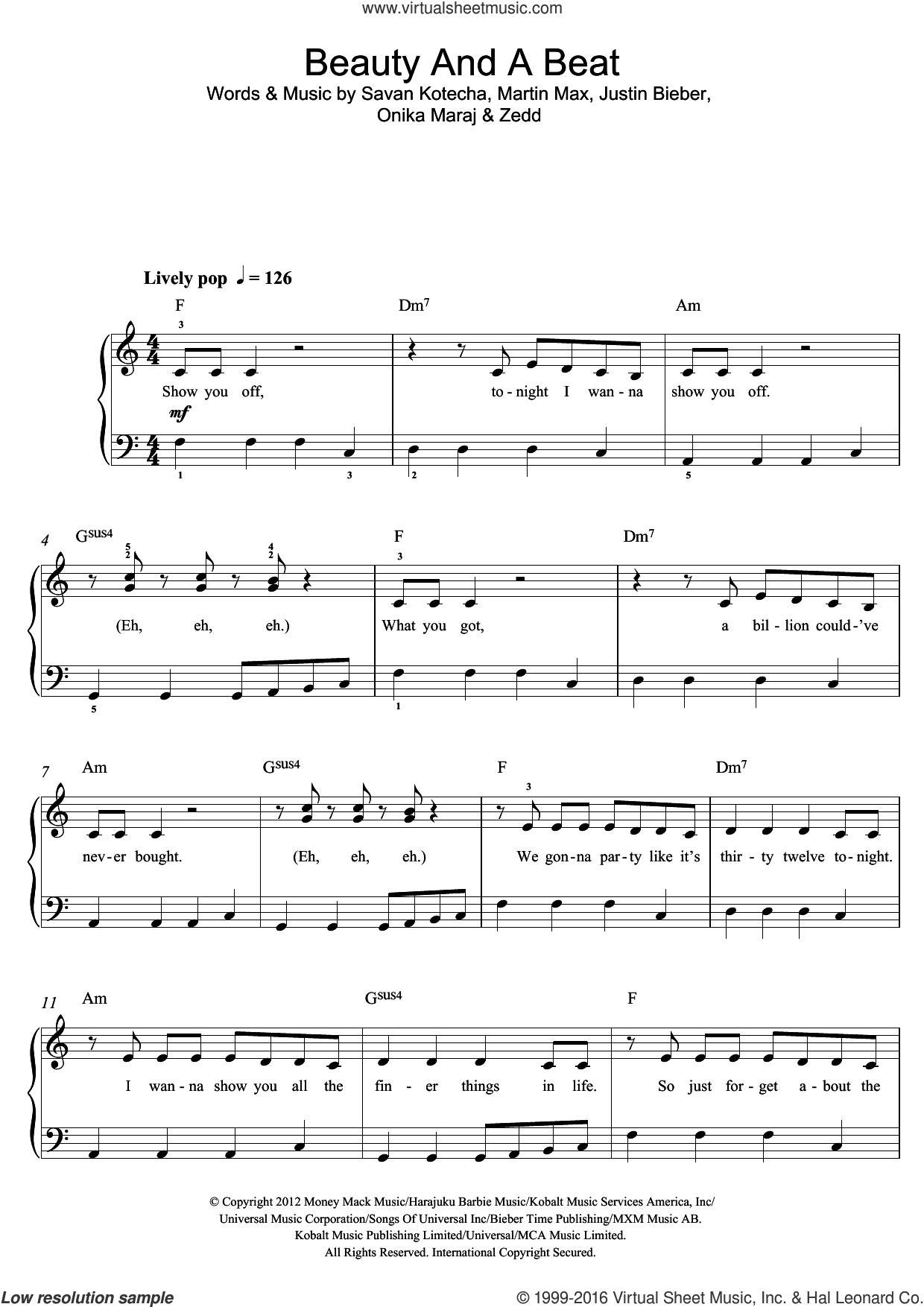 Beauty And A Beat (featuring Nicki Minaj) sheet music for voice, piano or guitar by Justin Bieber, Nicki Minaj, Martin Max, Onika Maraj, Savan Kotecha and Zedd, intermediate skill level