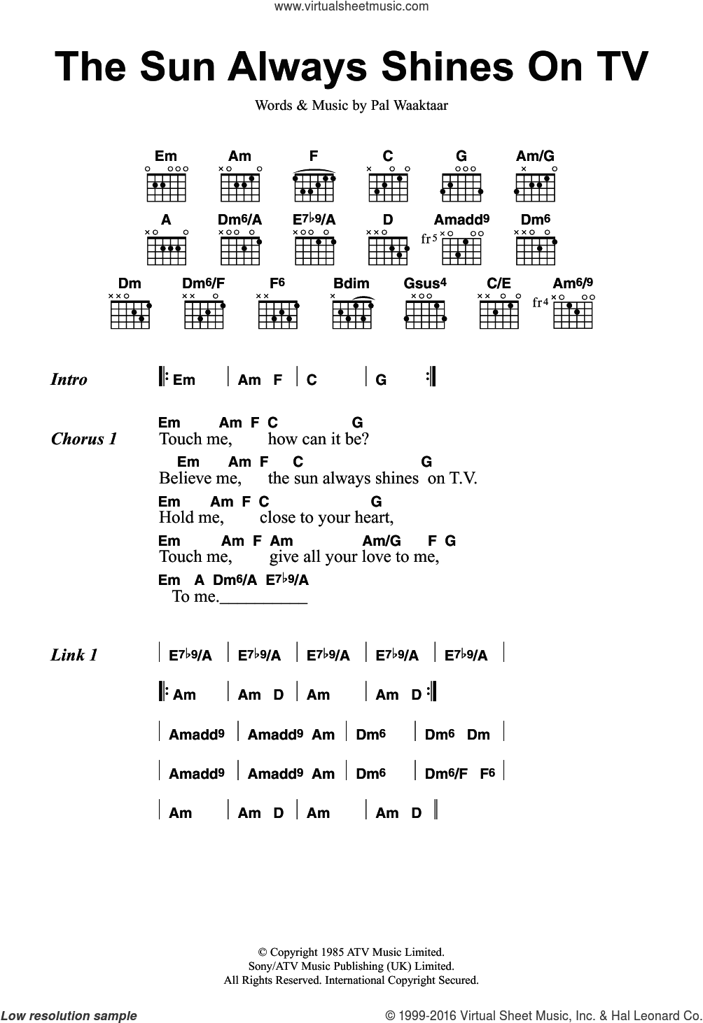 The Sun Always Shines On TV sheet music for guitar (chords) by a-ha and Pal Waaktaar, intermediate skill level