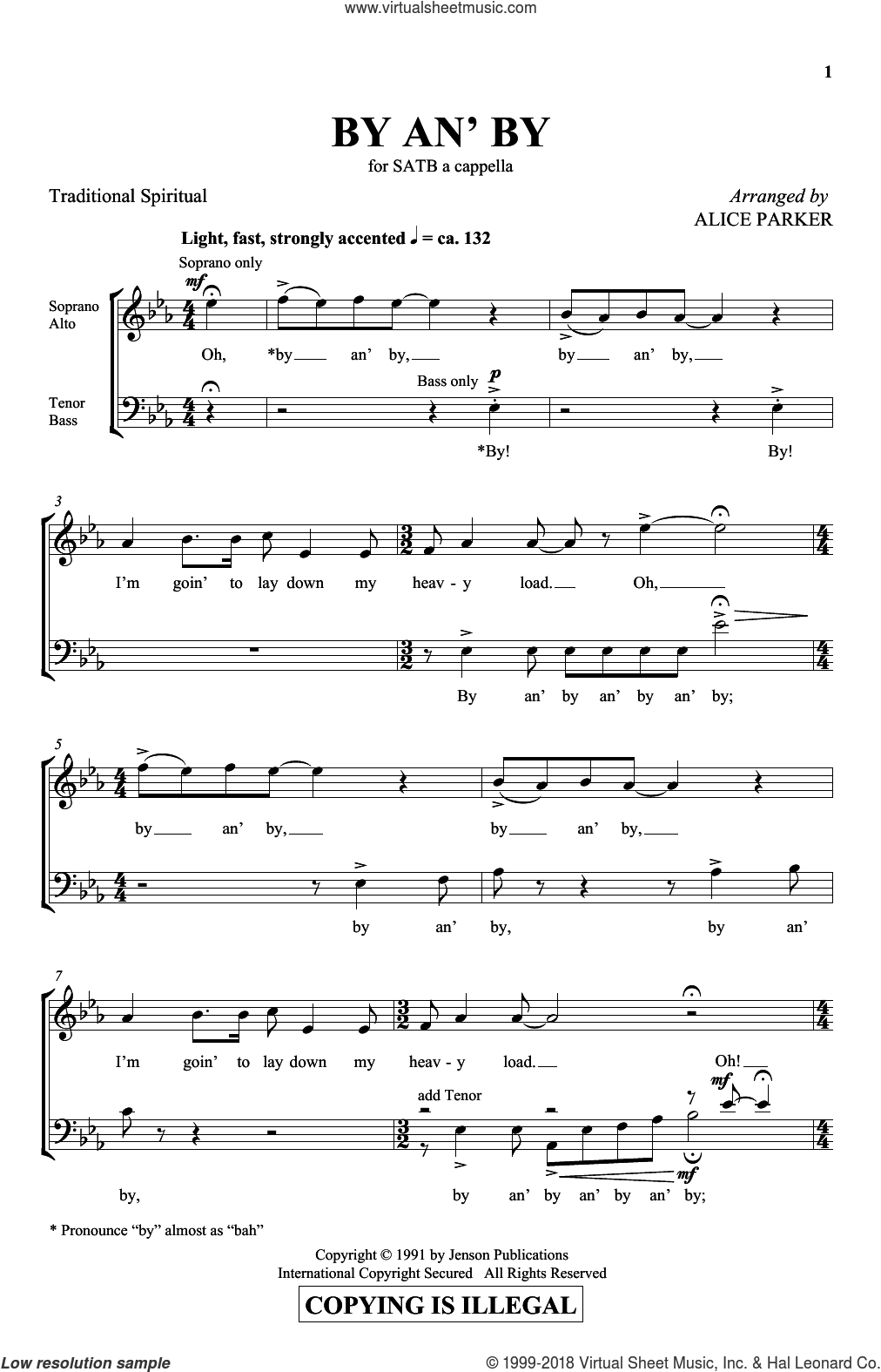 By An' By sheet music for choir and piano (SATB)  and Alice Parker. Score Image Preview.