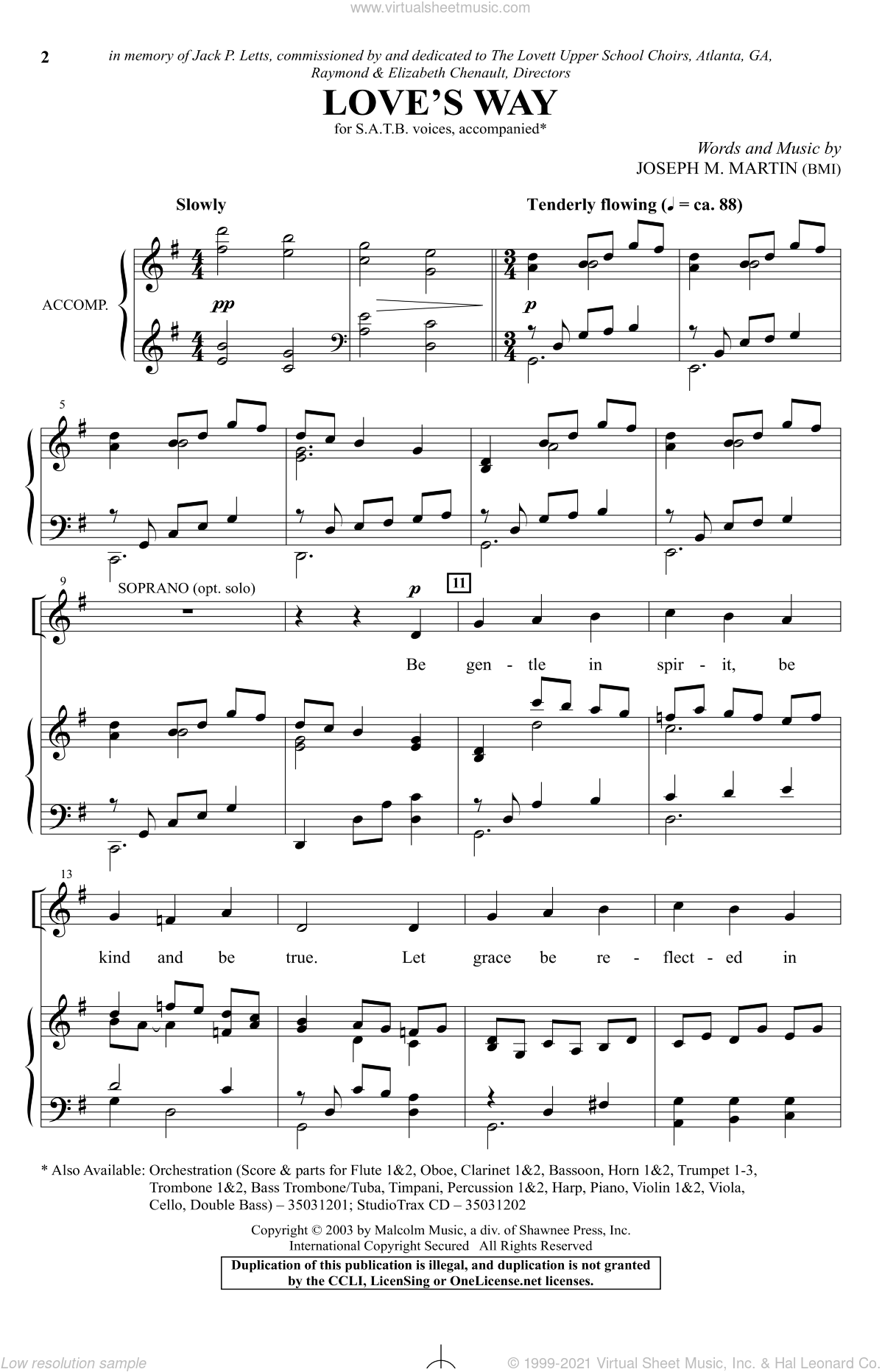 Love's Way sheet music for choir and piano (SATB) by Joseph M. Martin. Score Image Preview.